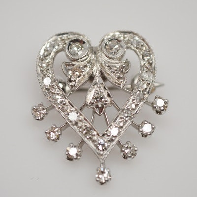 14K White Gold and Platinum Diamond Heart Brooch
