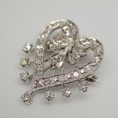 14K White Gold and Platinum Diamond Heart Brooch