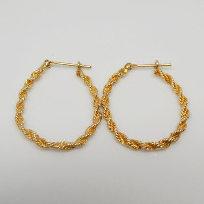 14K Yellow Gold Rope Hoop Pierced Earrings