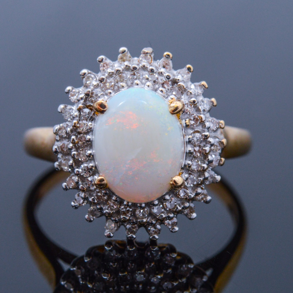10K Yellow Gold, Opal, and Diamond Ring