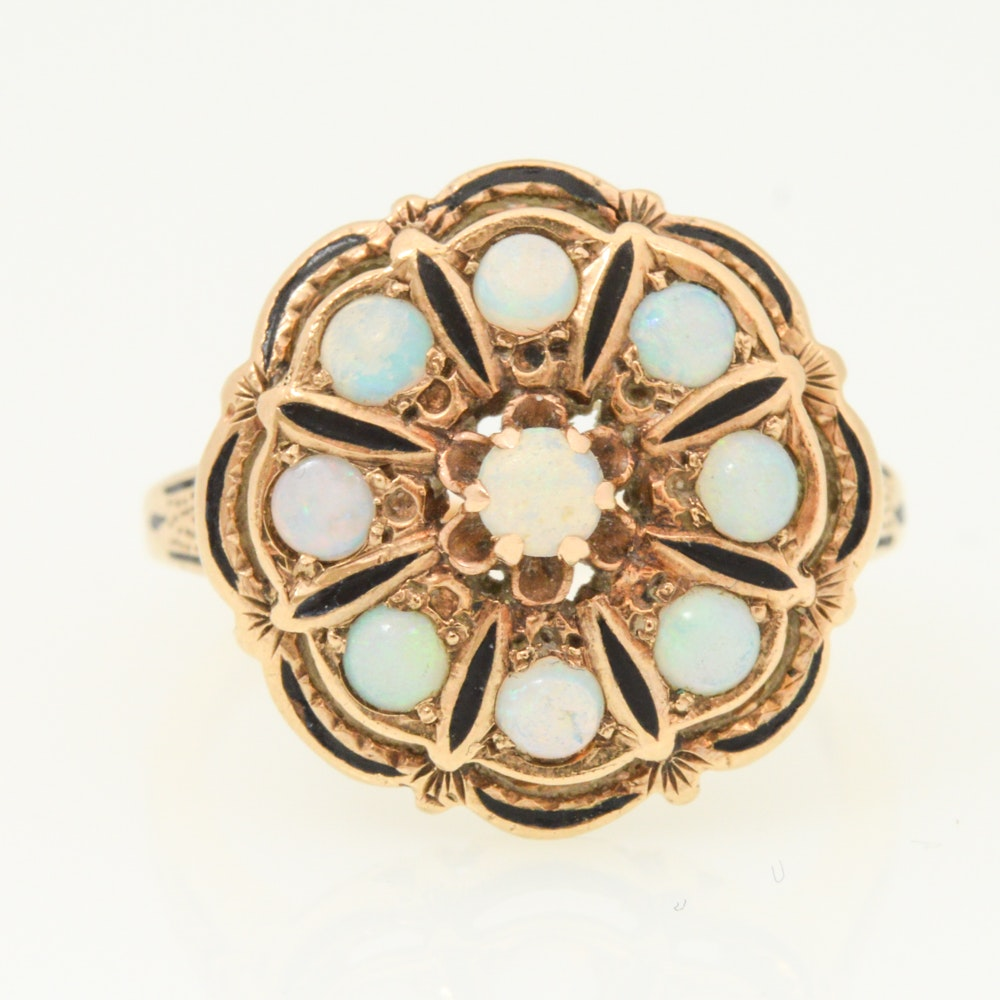 Victorian Revival 10K Yellow Gold Opal and Black Enamel Ring