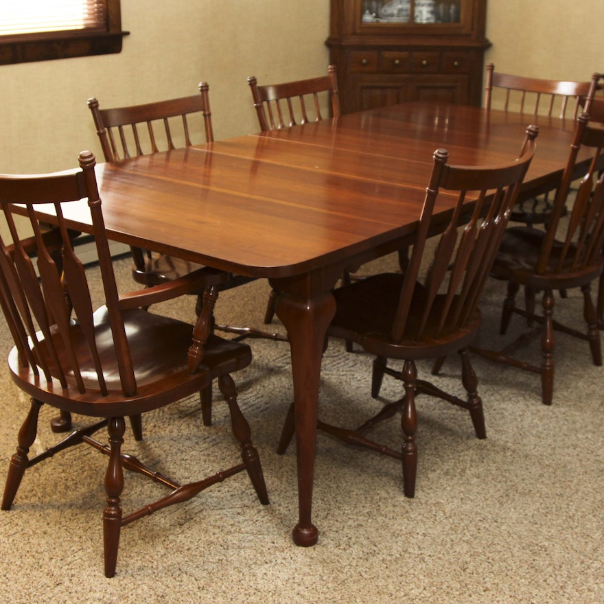 Vintage Windsor Style Cherry Dining Chairs And Table By Harden