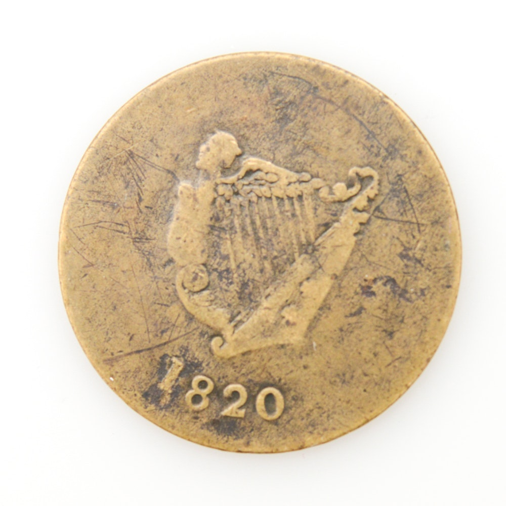 1820 Canadian Bust and Harp Token