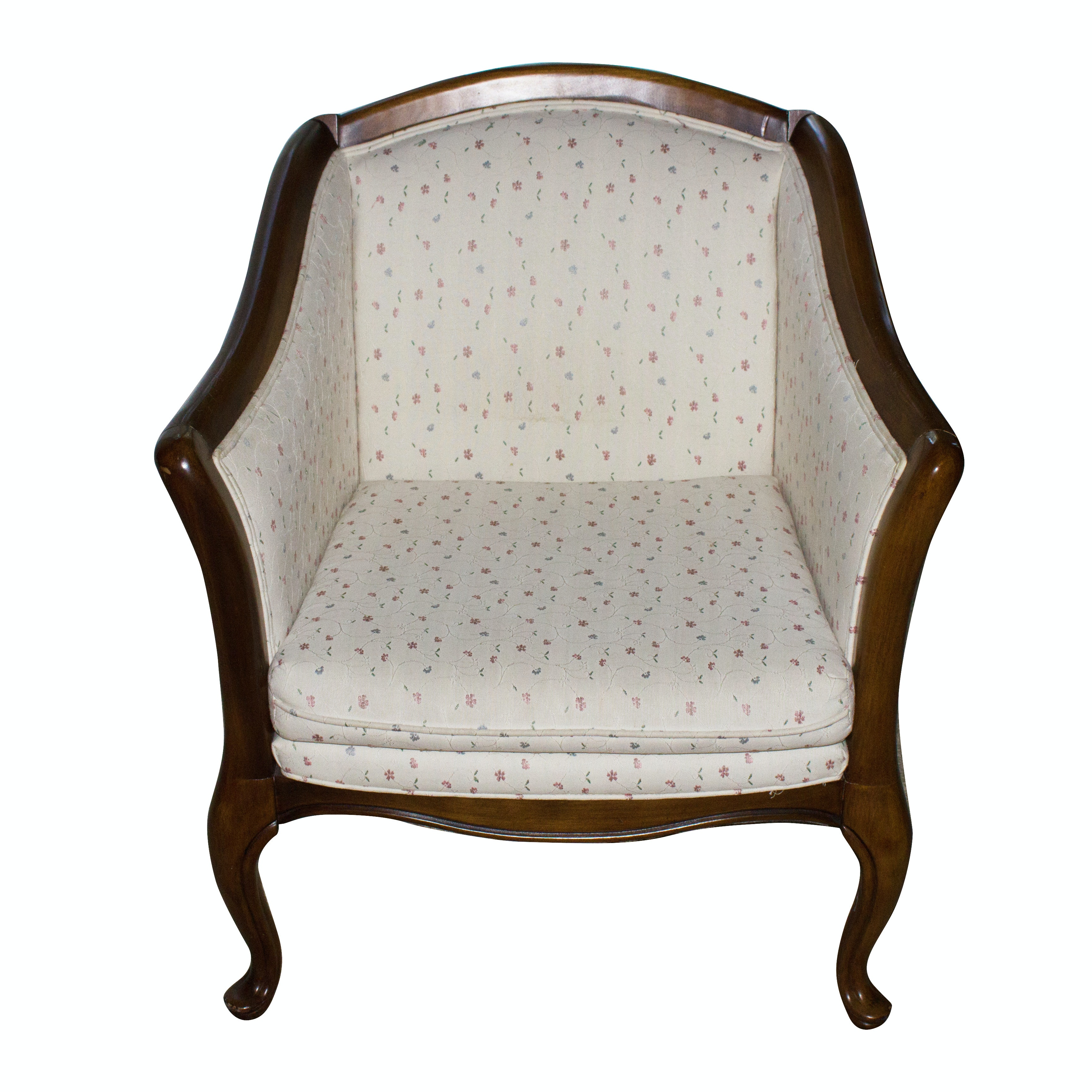 Vintage Upholstered Chair with Exposed Frame