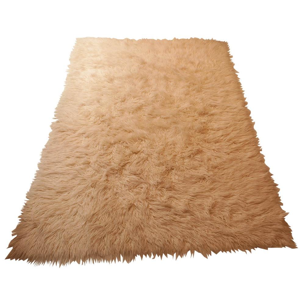 Pink Wool Shag Area Rug