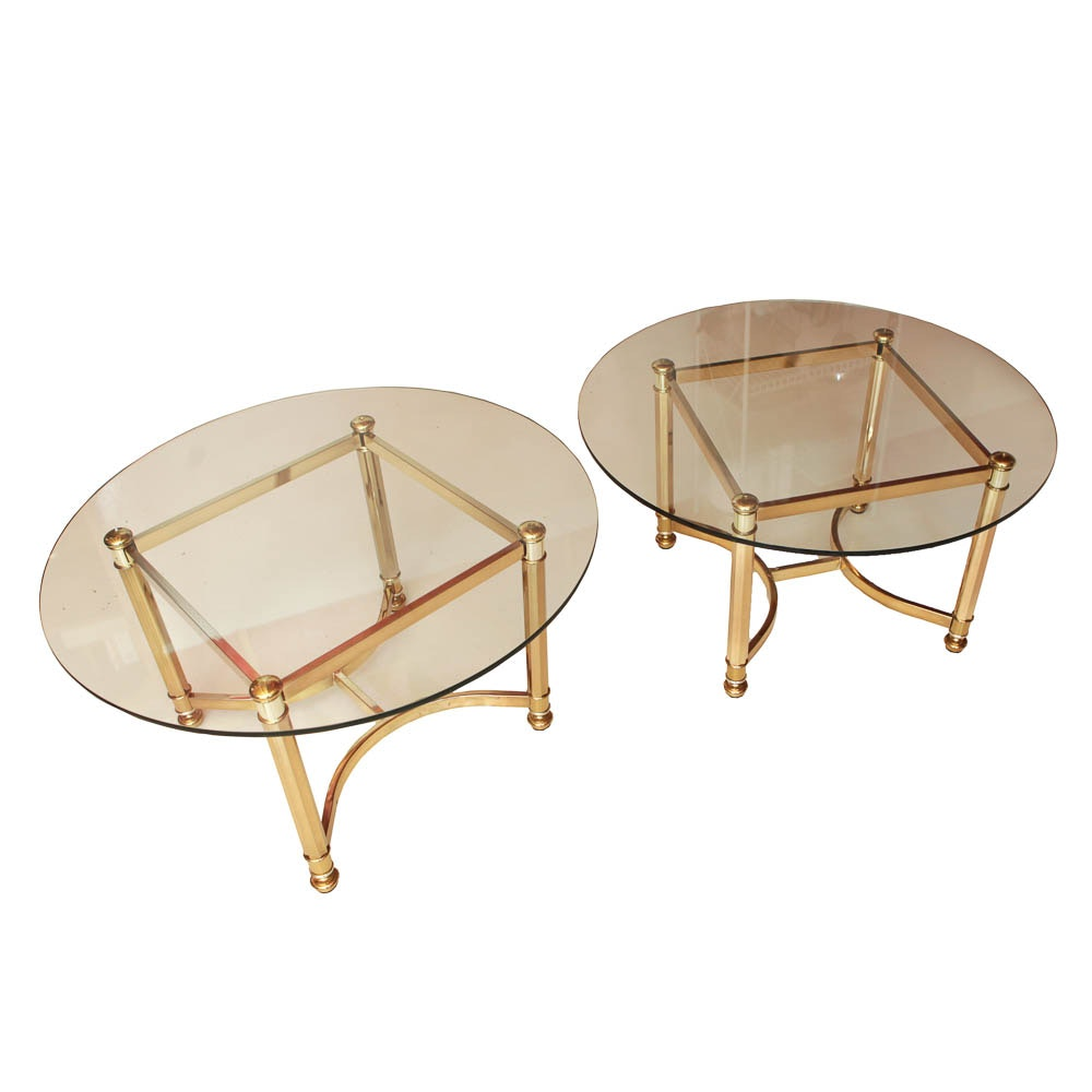 Round Glass and Brass End Tables
