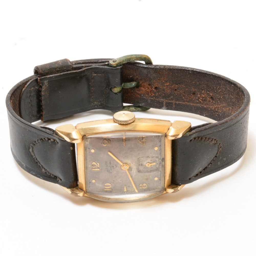 Gold Filled Elgin Leather Wristwatch