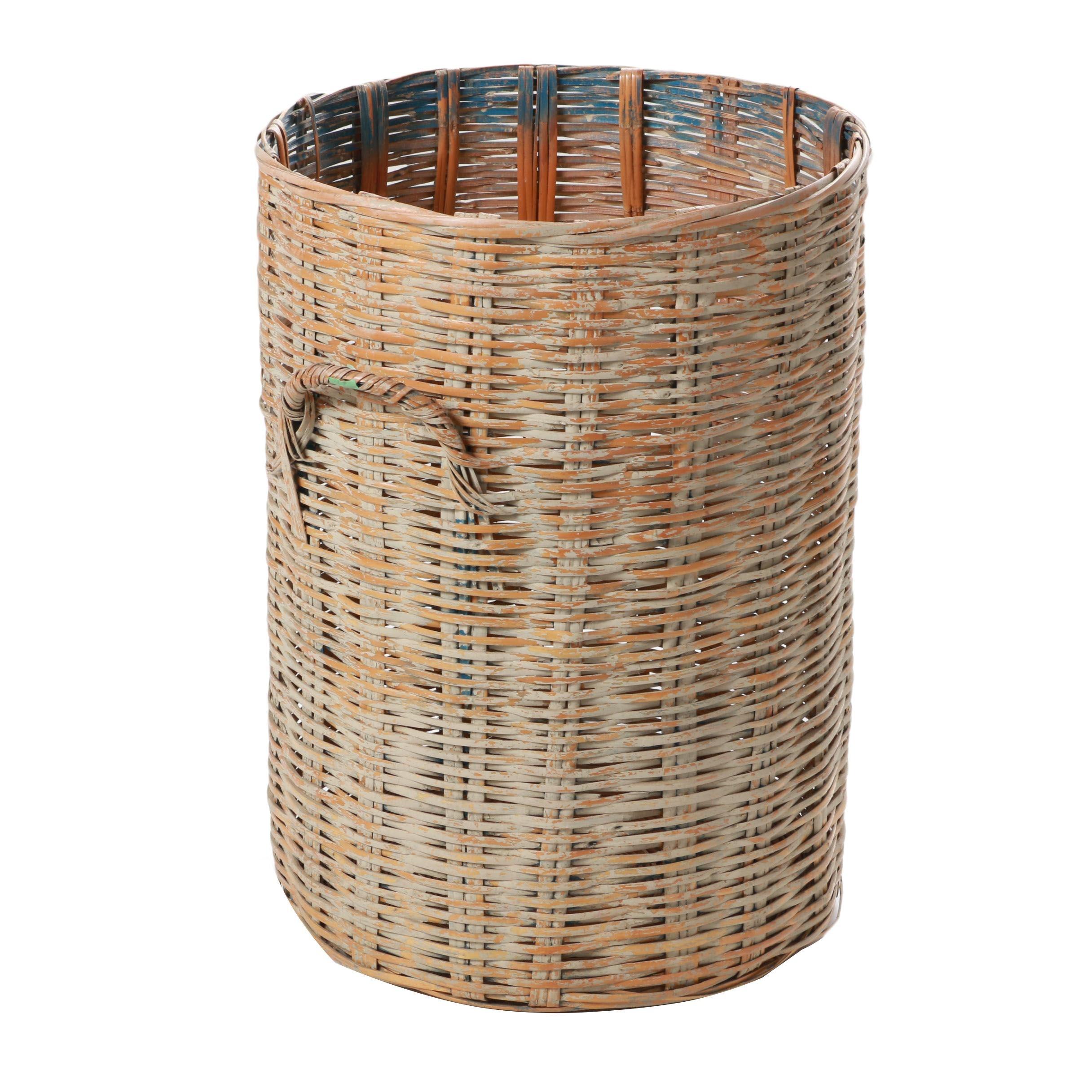 Vintage Tall Wicker Basket