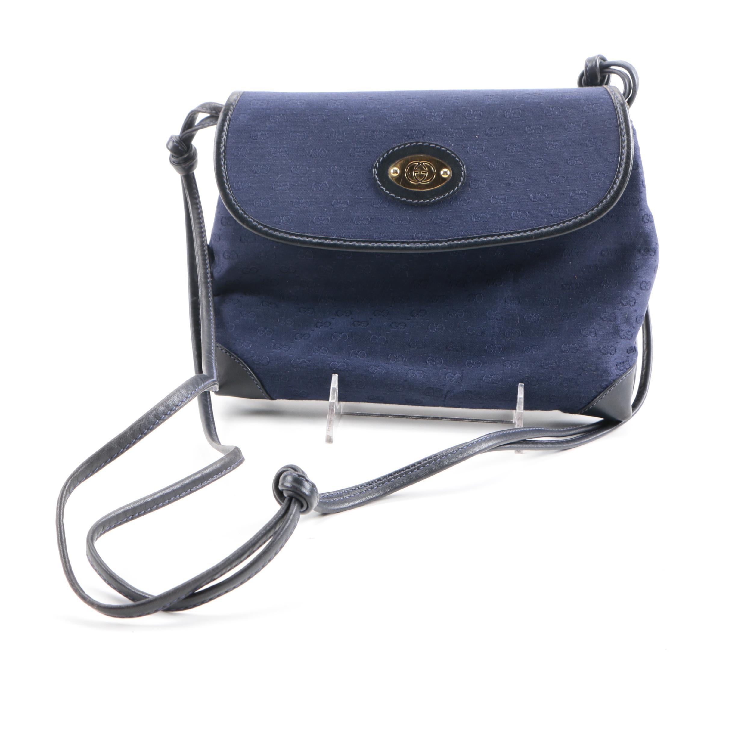 Gucci Blue Monogrammed Crossbody Bag