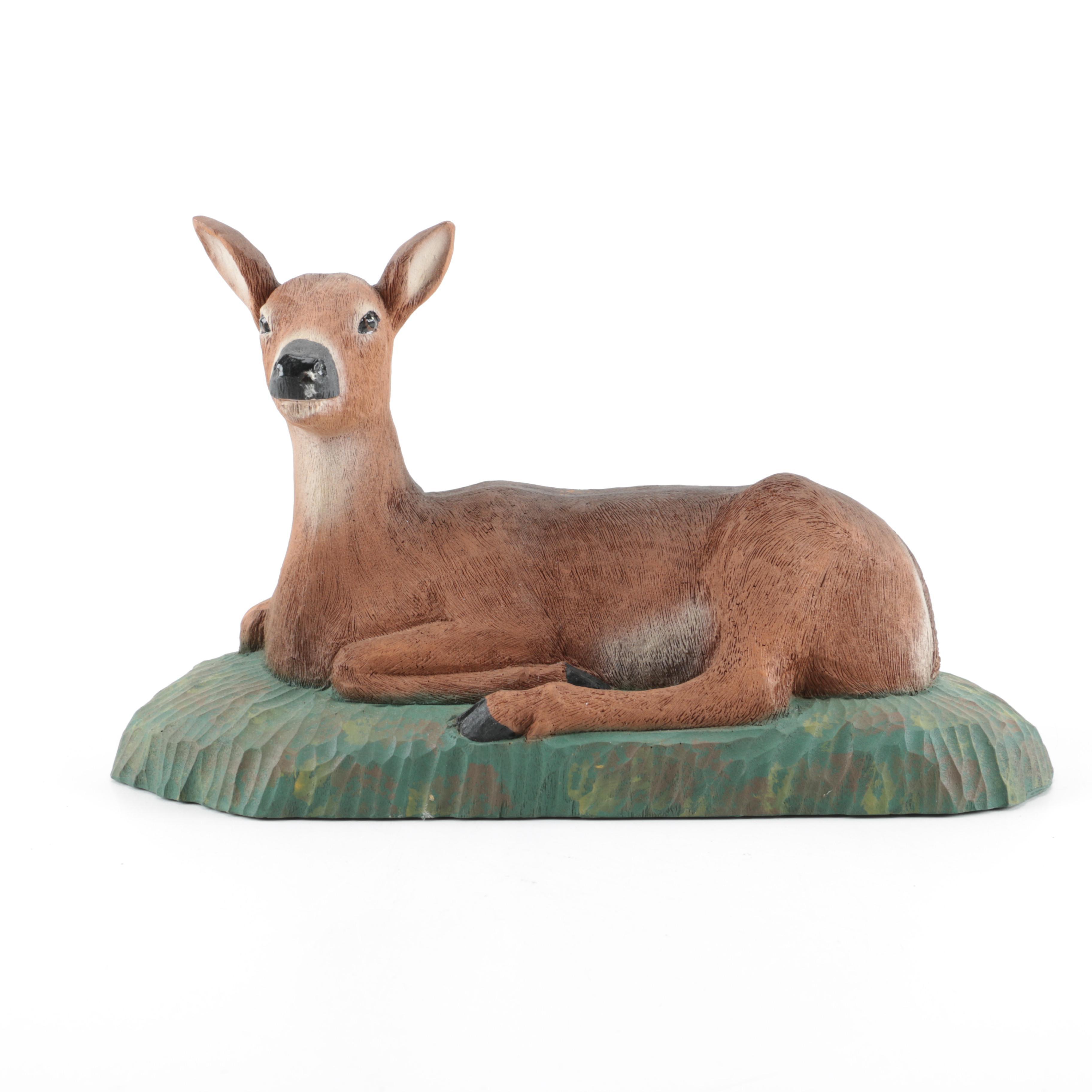 Vintage Hand-Carved Deer Figurine