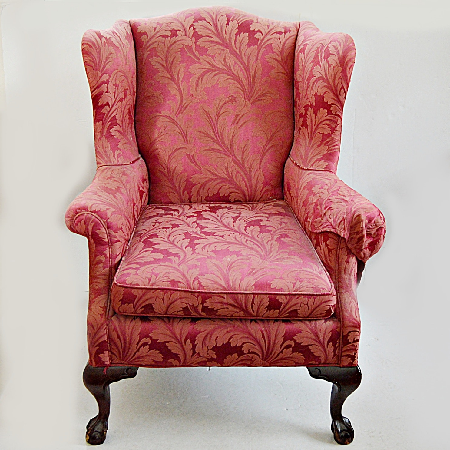 Chippendale Style Ball and Claw Wingback in Elegant Coral Foliate Upholstery