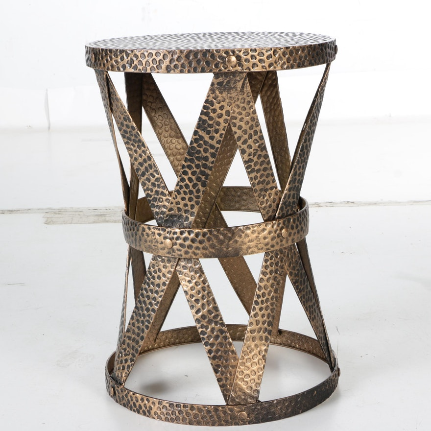 Hammered Metal Side Table Ebth