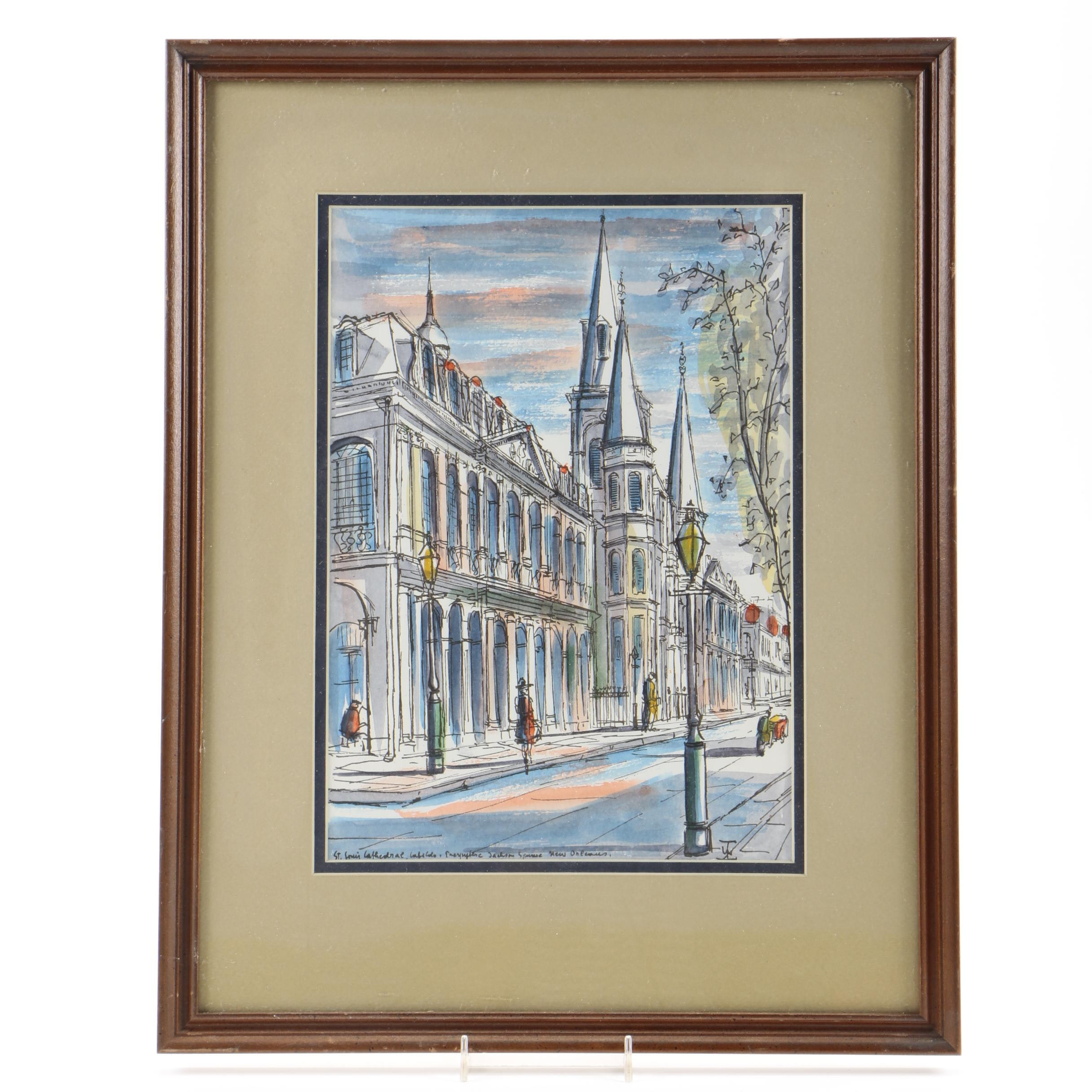 Watercolor Painting on Paper of St. Louis Cathedral in New Orleans