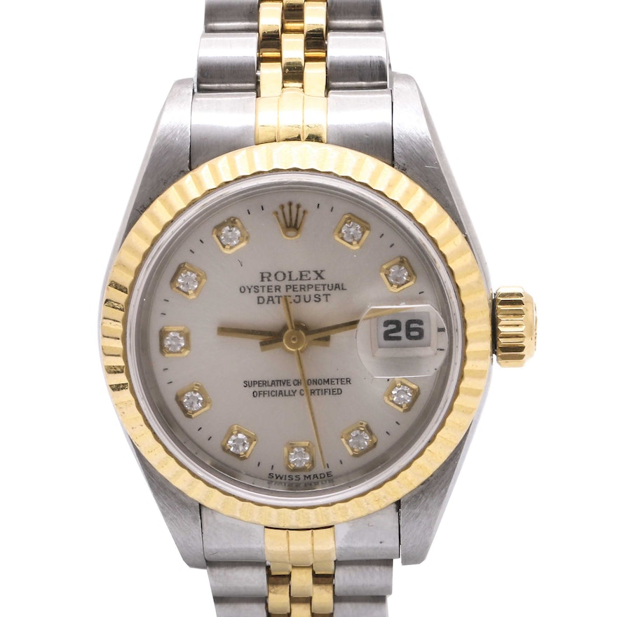 d75dd94ed65 Rolex 18K Yellow Gold and Stainless Steel Perpetual Datejust Diamond  Wristwatch   EBTH