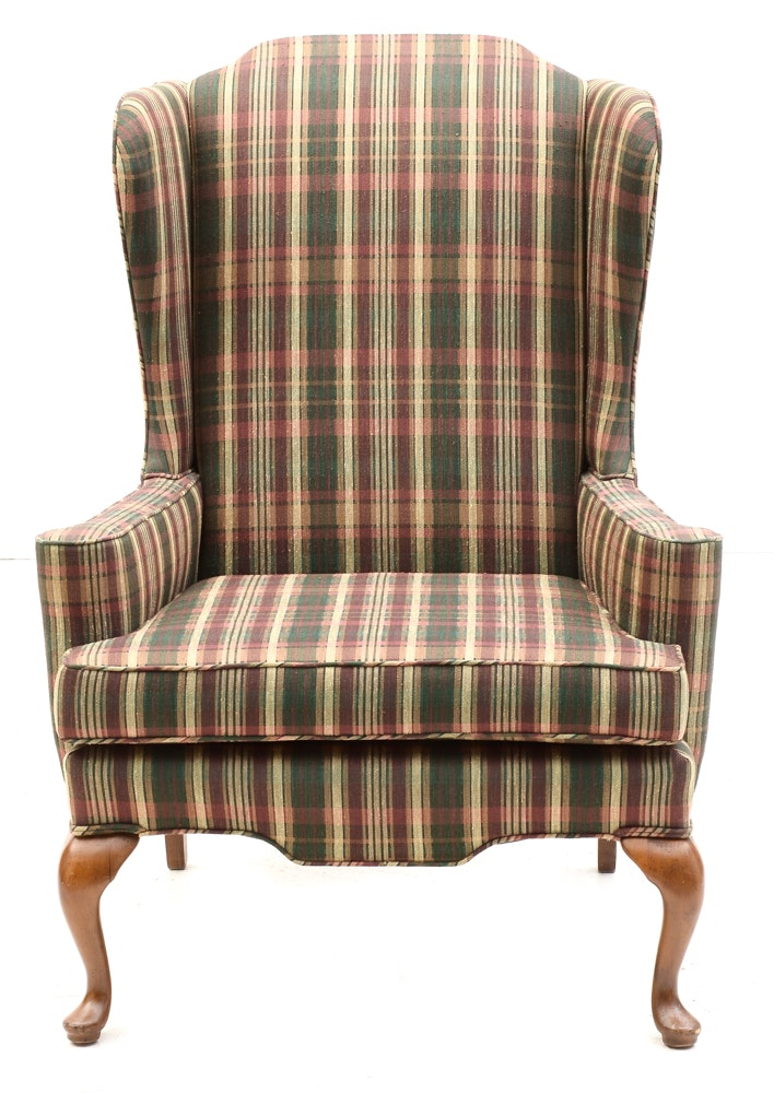 Plaid Upholstered Wing Chair Ebth