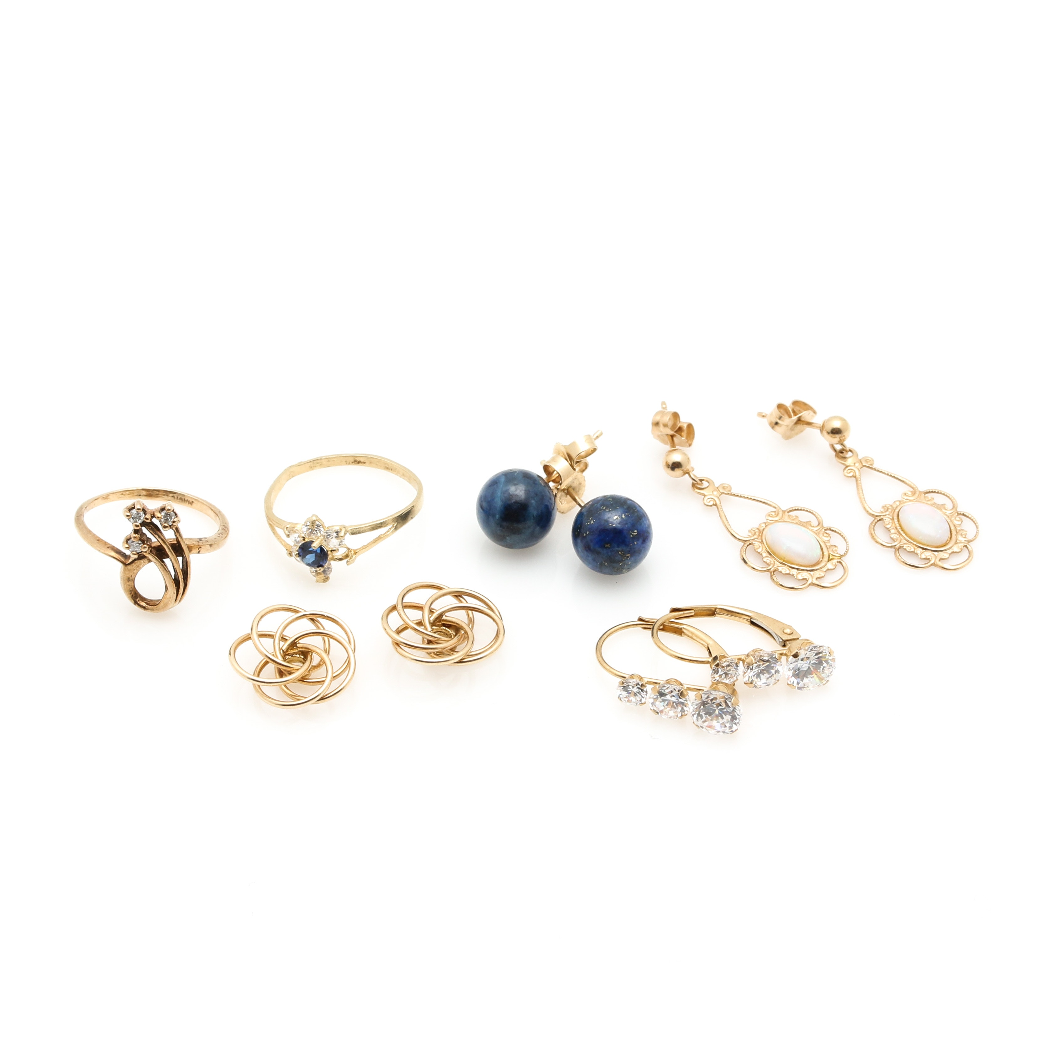 10K and 14K Yellow Gold Diamond and Gemstone Jewelry Selection