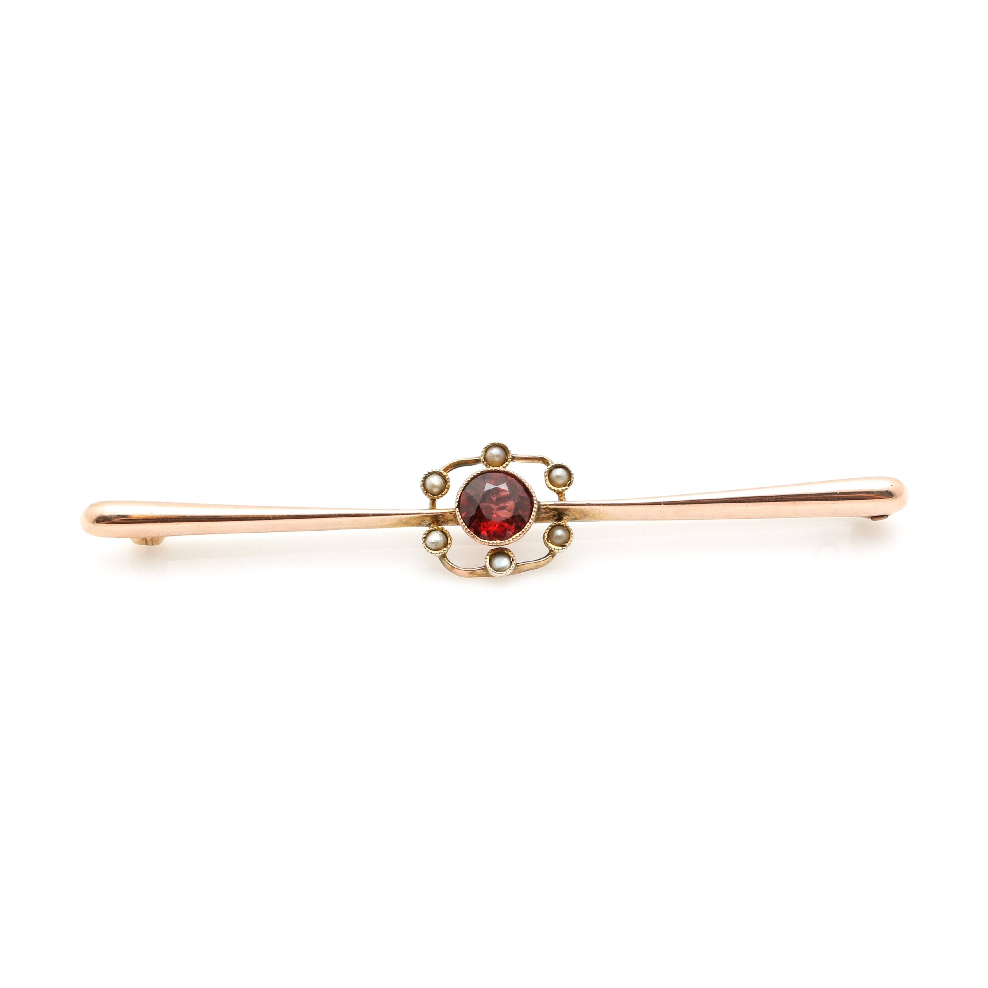 9K Rose Gold Garnet and Seed Pearl Bar Converter Brooch