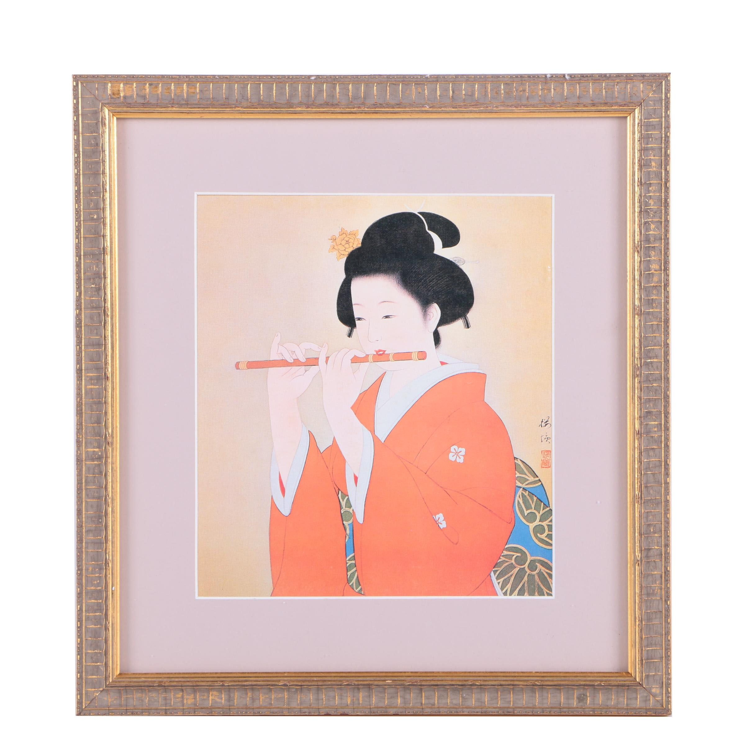 East Asian Style Offset Lithograph on Canvas of Woman Playing Flute