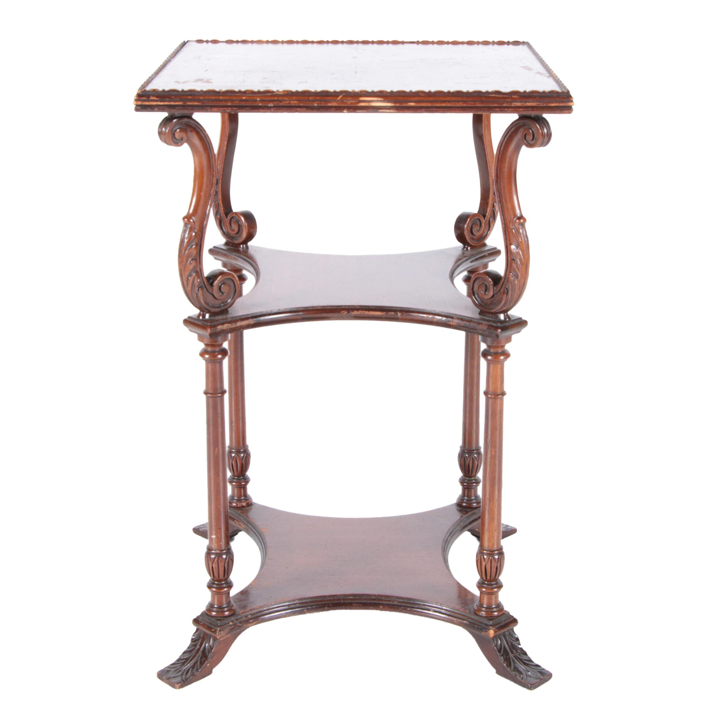 Neoclassical Style Three Tier Side Table