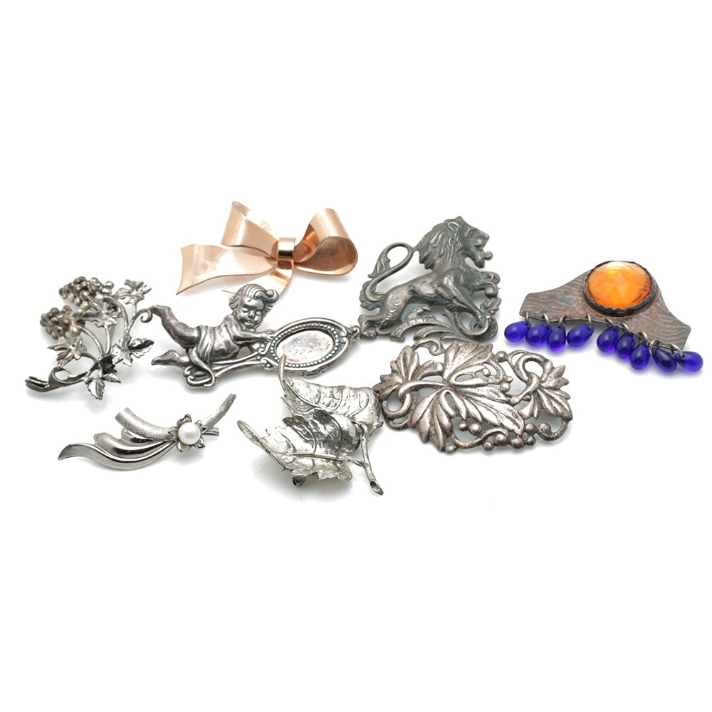 Sterling Silver Brooch Assortment Including Danecraft and Coro