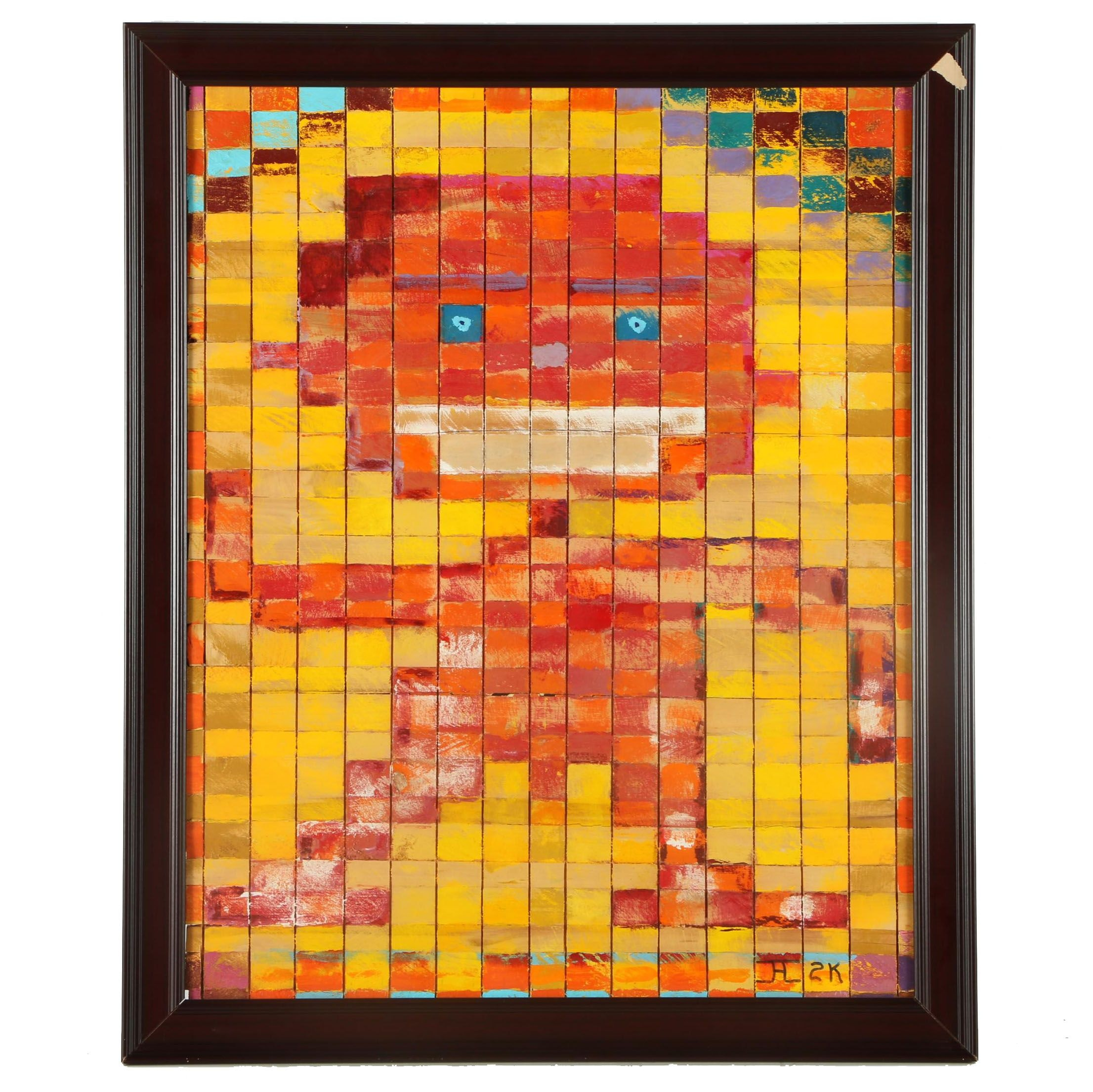 "Caviness Acrylic Painting on Wood Blocks ""Laughing Boy"""