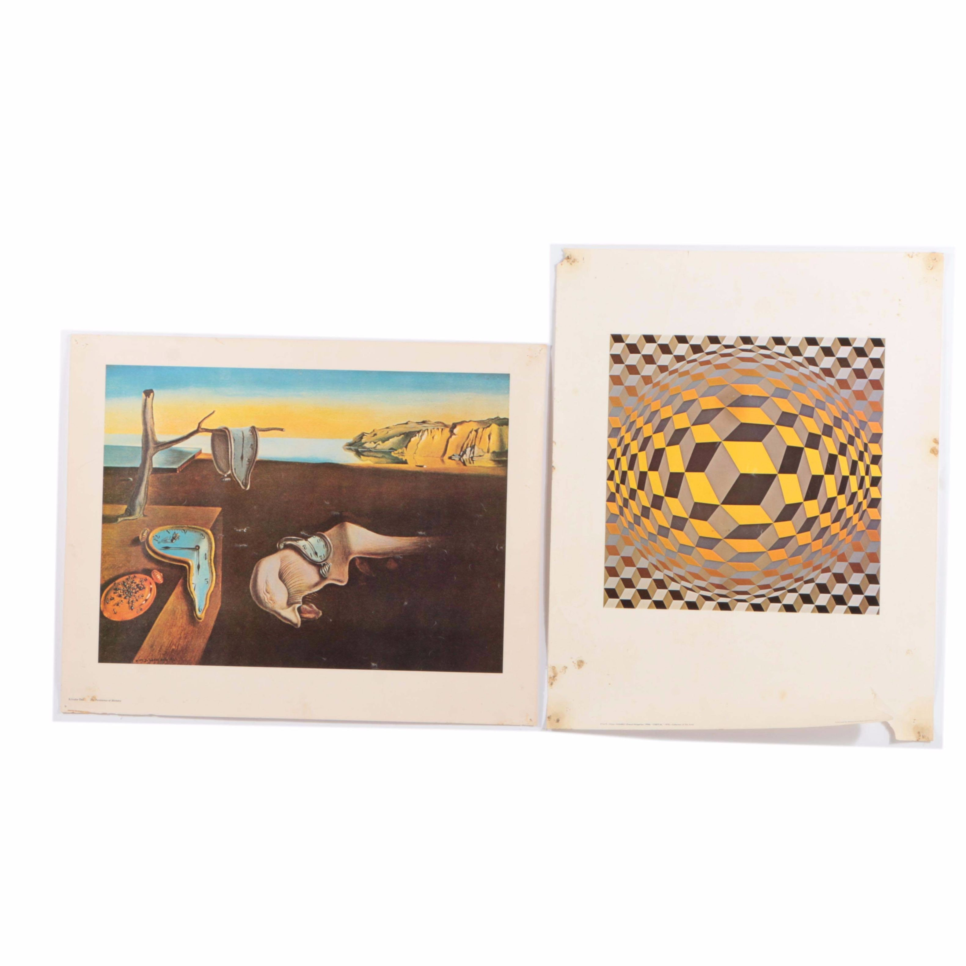 Pair of Offset Lithographs on Paper After Salvador Dalí and Victor Vasarely