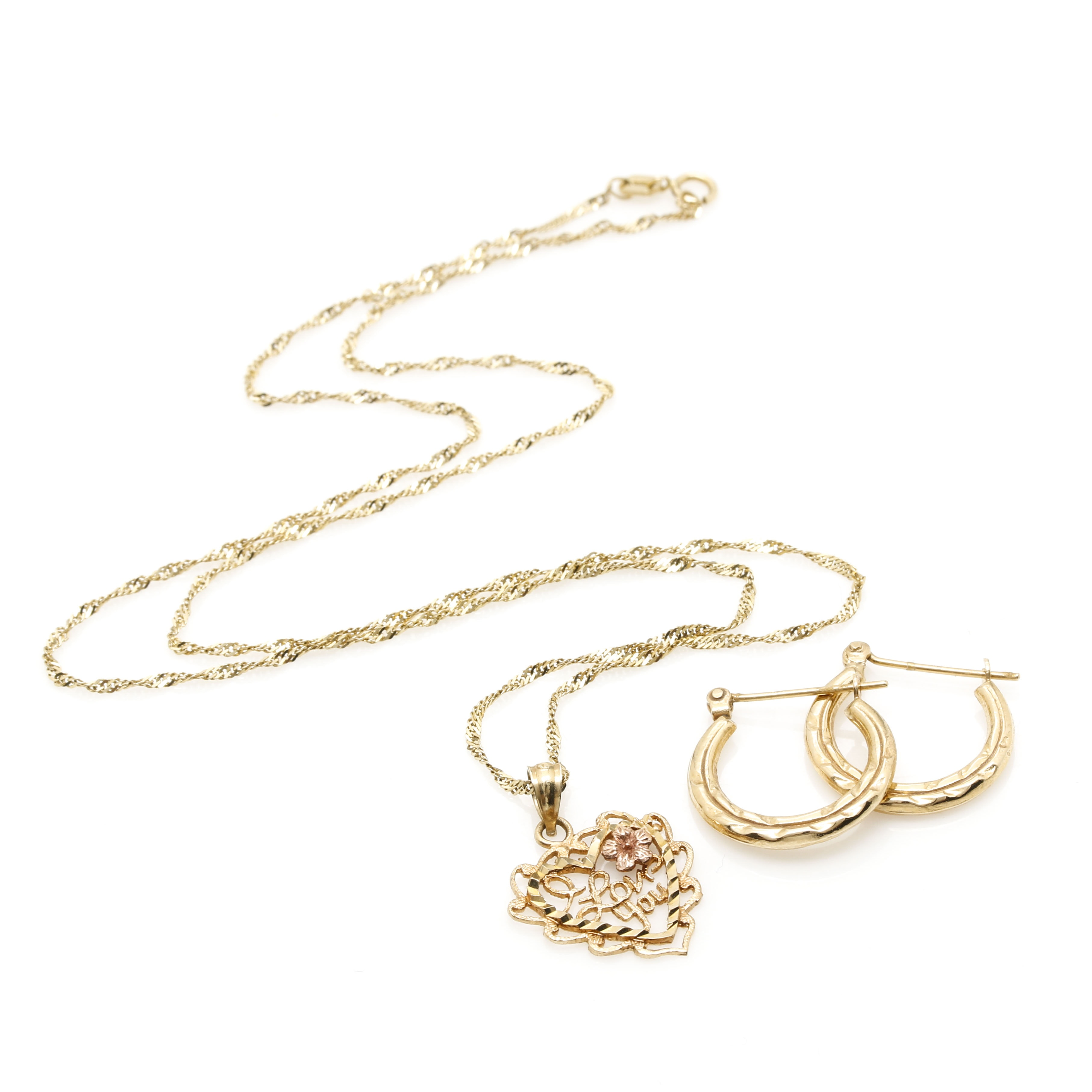 14K Yellow Gold Pendant Necklace and Hoop Earrings