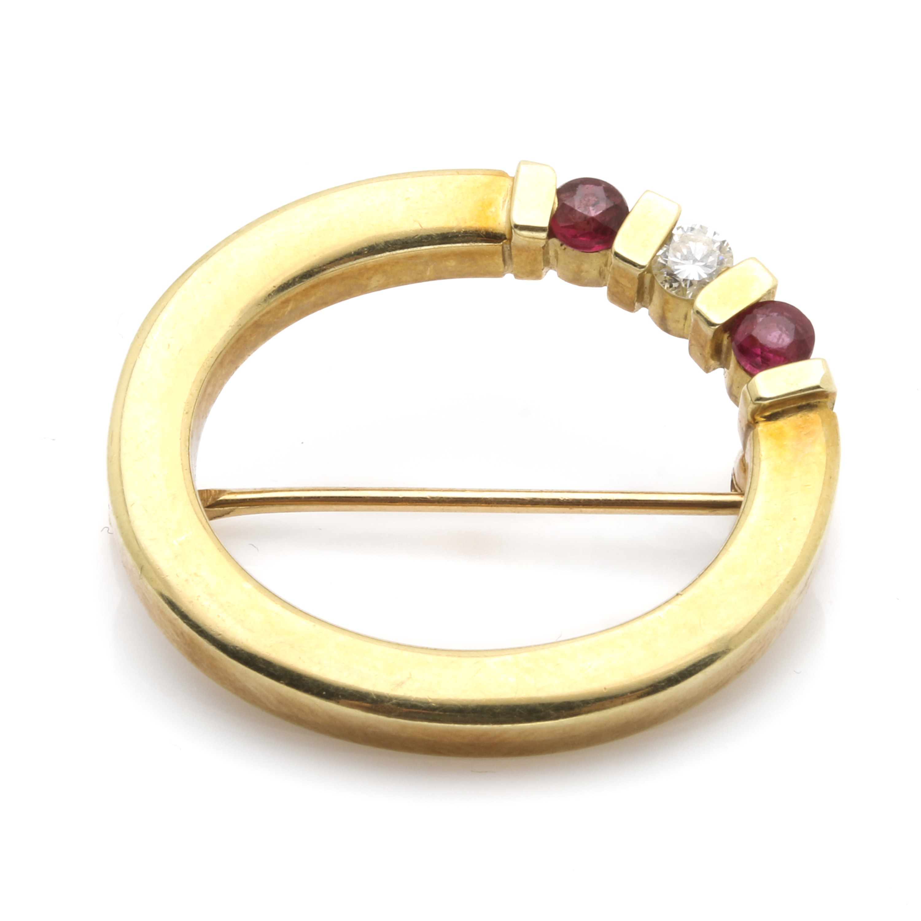 14K Yellow Gold Diamond and Ruby Brooch