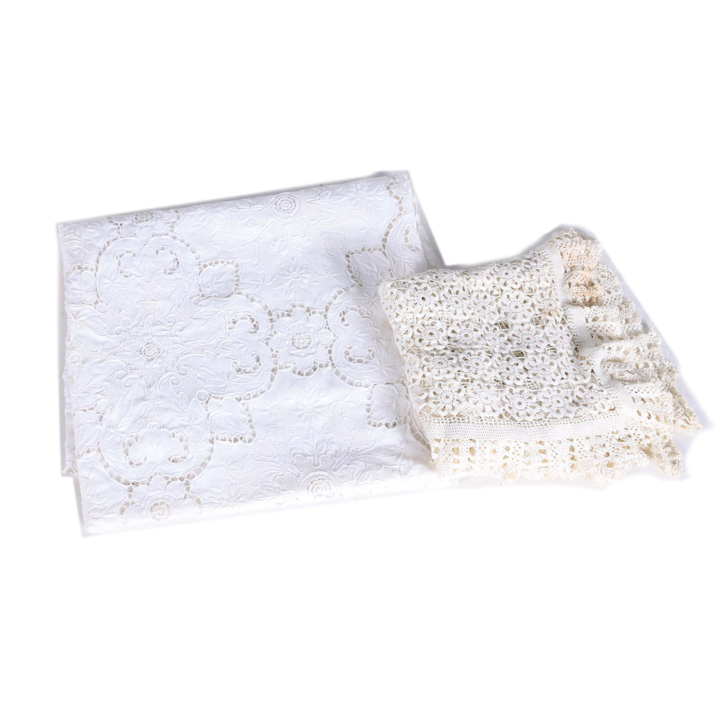 Embroidered Lace Tablecloth and Crocheted Blanket