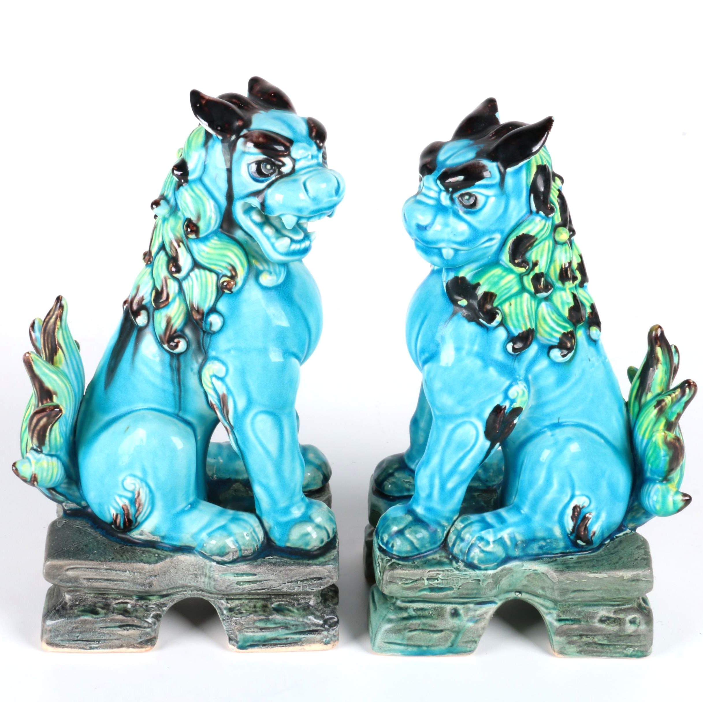 Pair of Blue Ceramic Guardian Lions