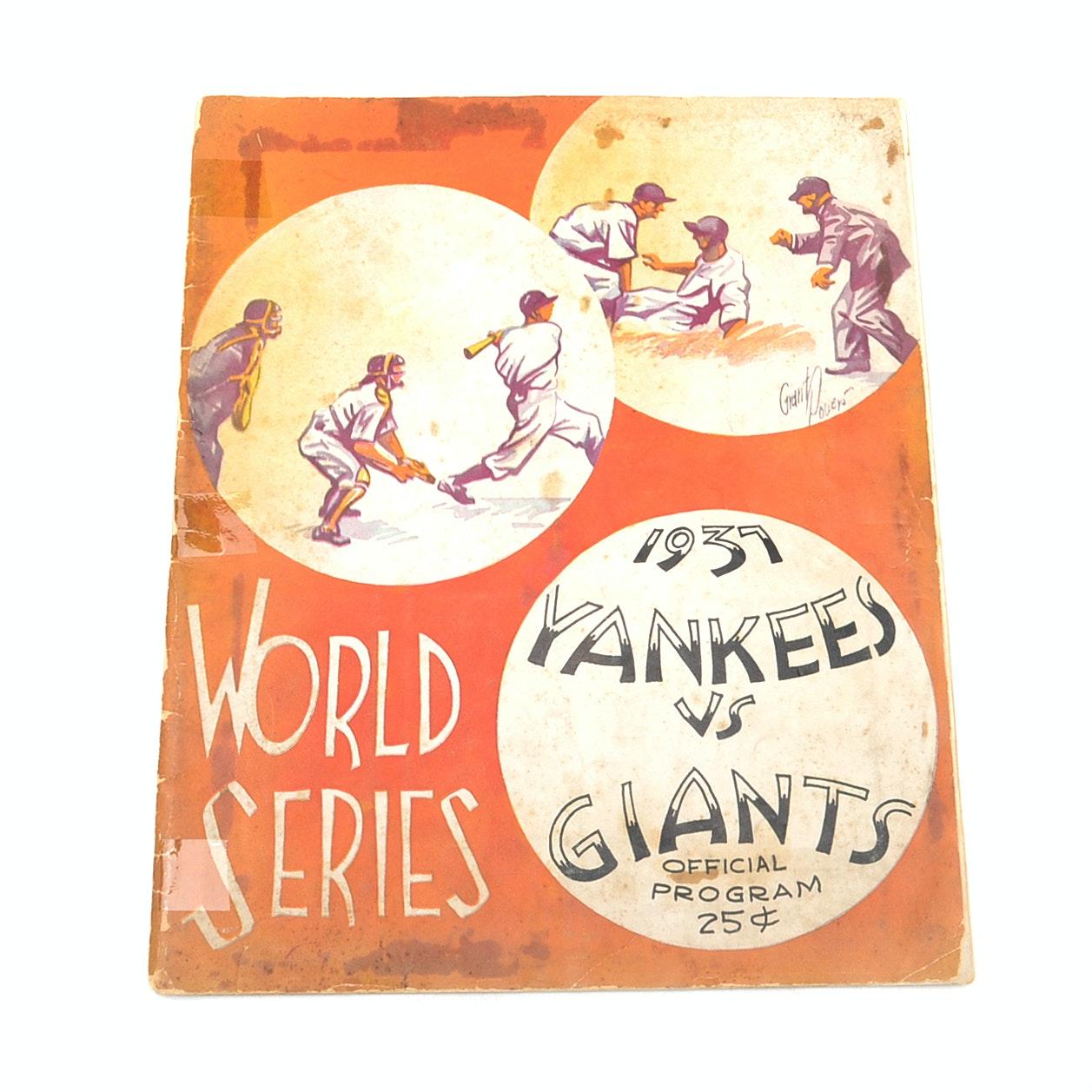 1937 New York Yankees Vs. New York Giants World Series Program