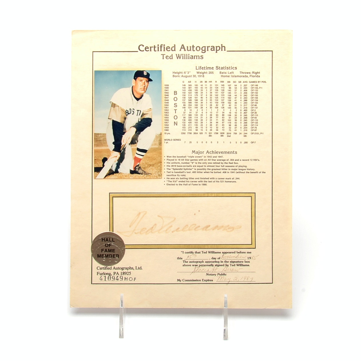 1985 Ted Williams Reds Sox Signed Hall Of Fame Baseball Print