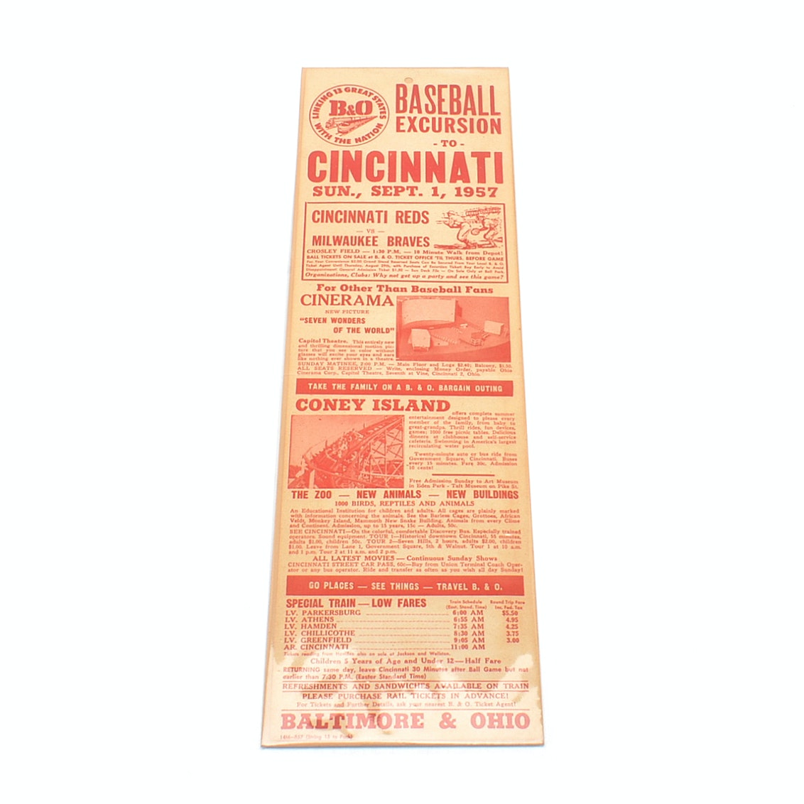 "1957 Cincinnati Reds Vs. Braves ""B & O"" Broadside"