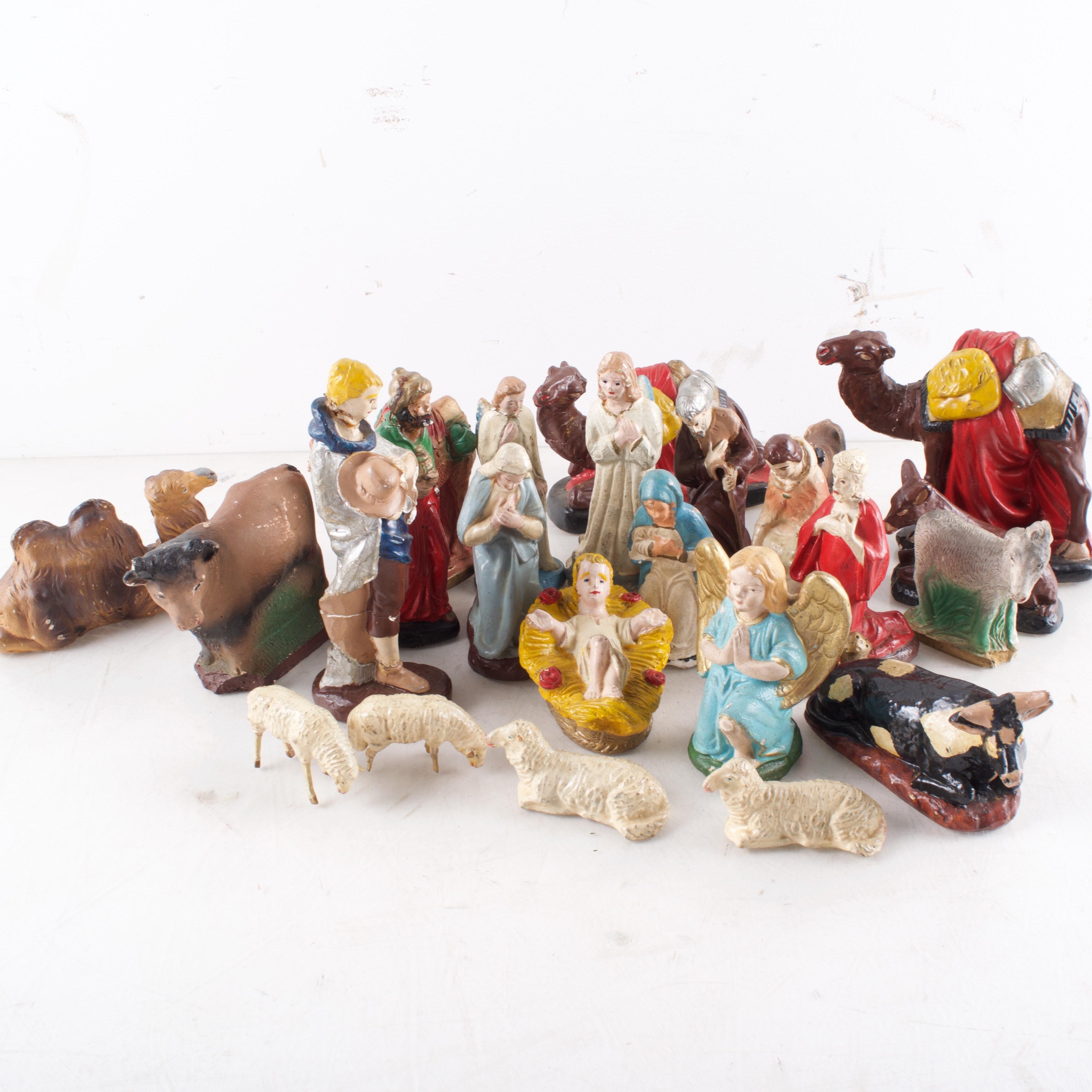 Vintage Hand-Painted Nativity Set