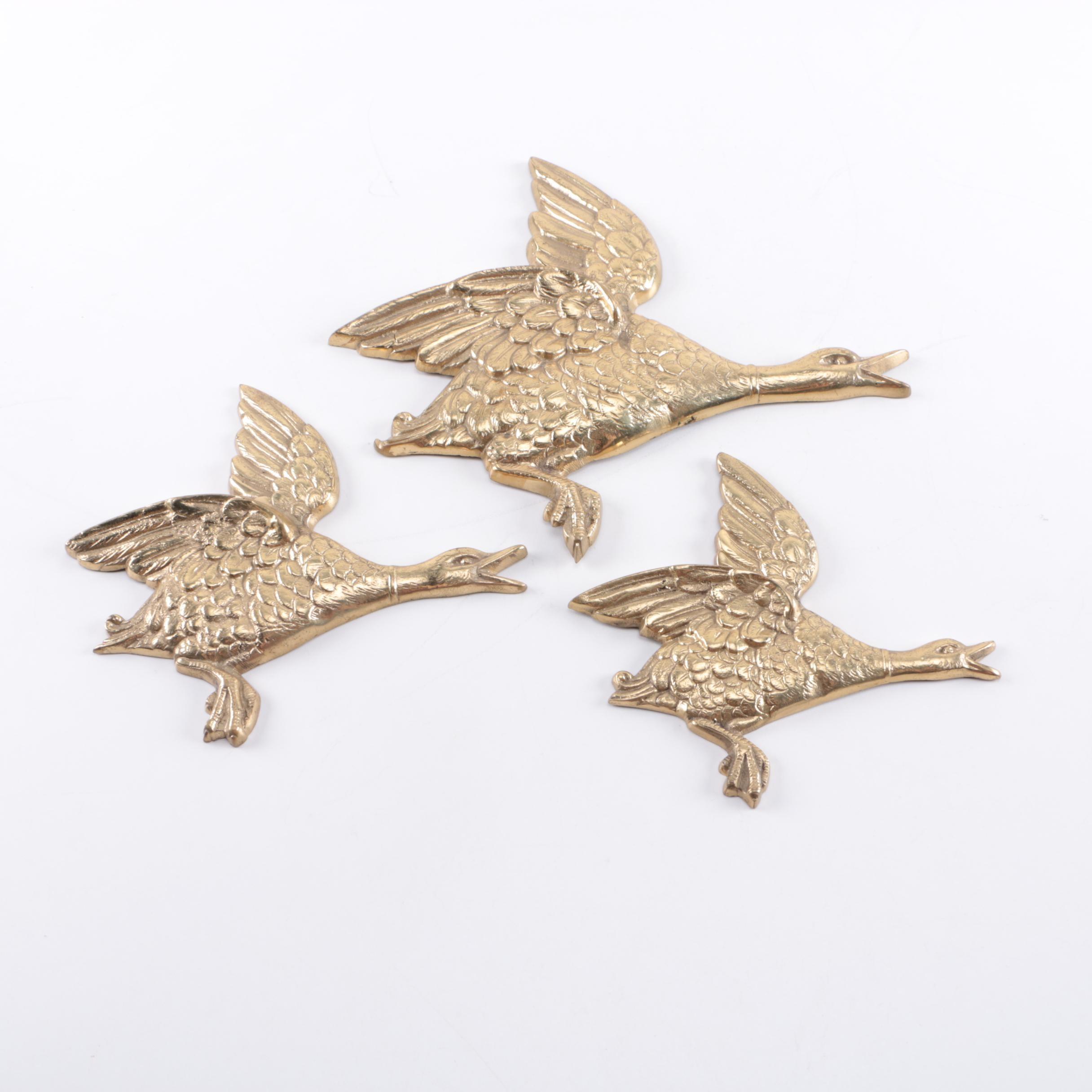 Three Vintage Brass Geese