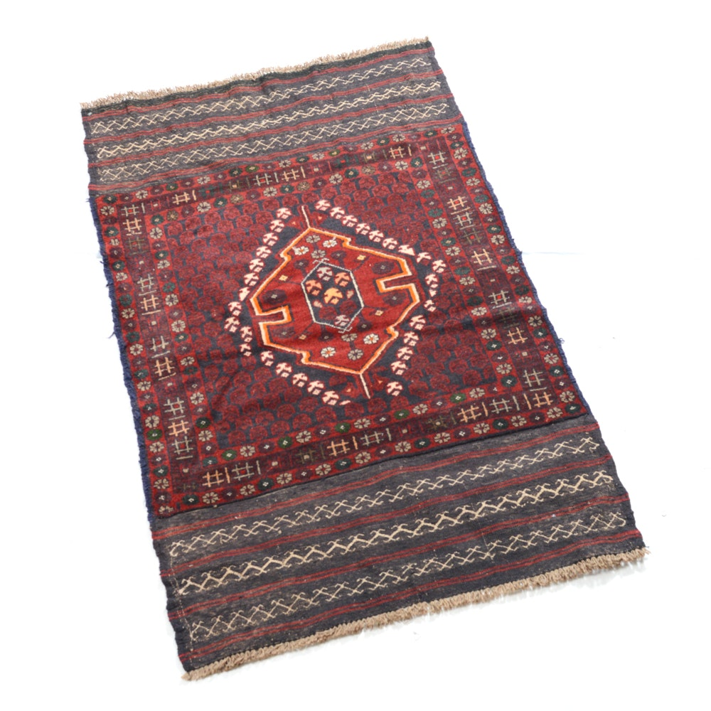 Hand-Knotted Afghani Baluch Rug