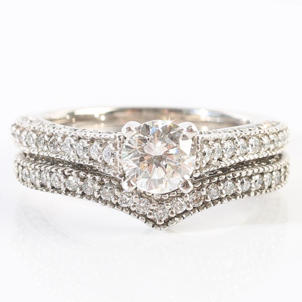 Palladium and Diamond Wedding Set