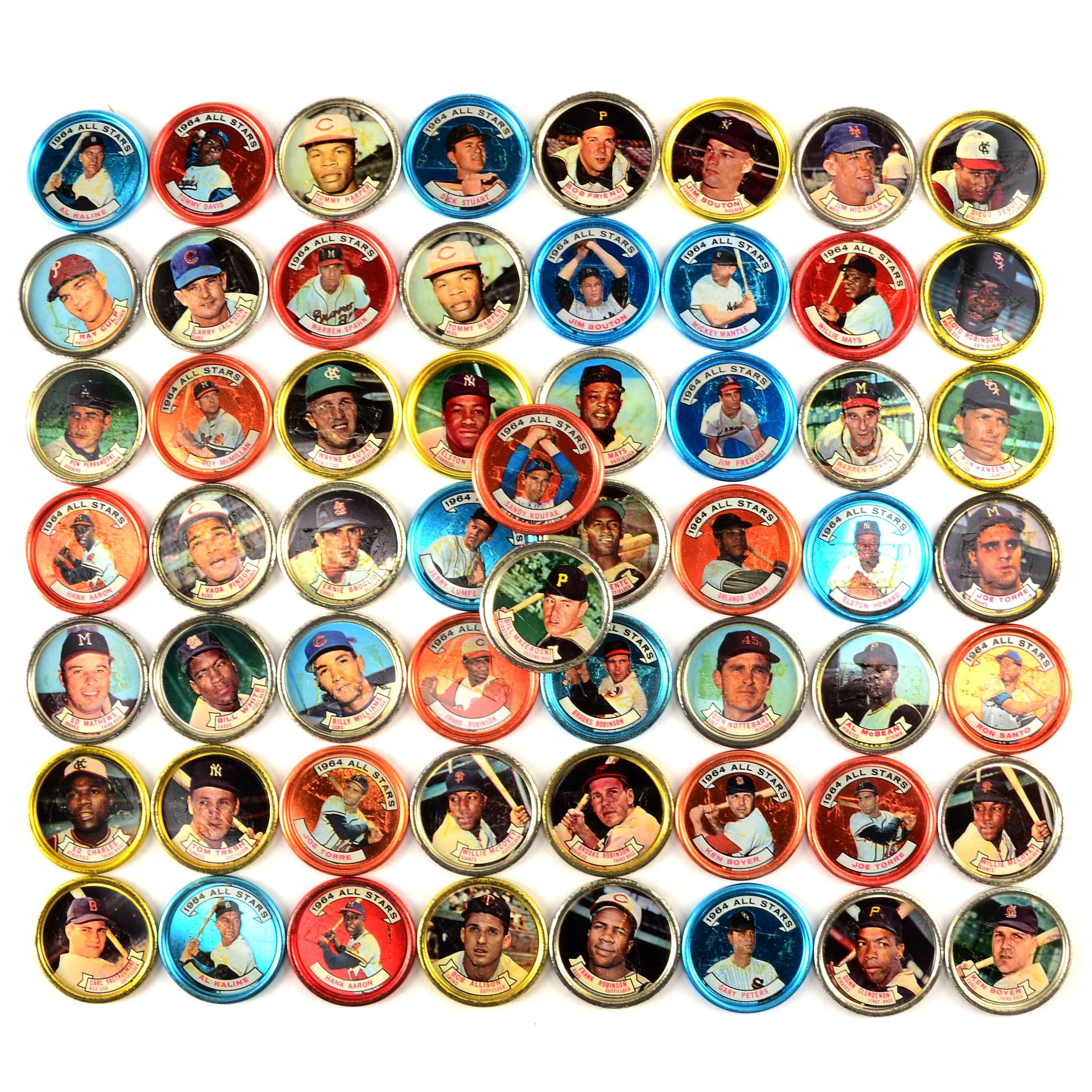Fifty-Eight 1964-1965 Topps Baseball Player Photo Coins