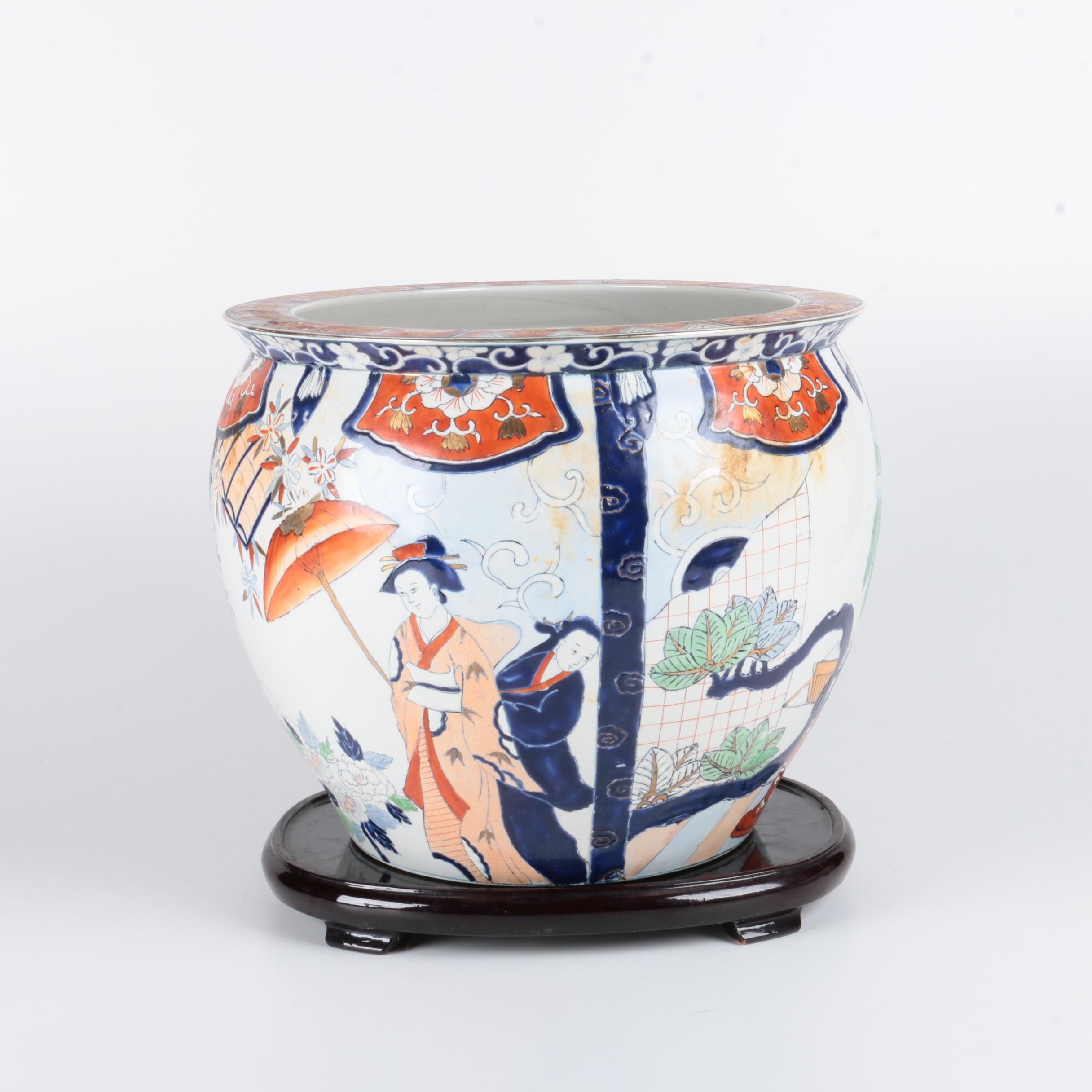 Chinese Ceramic Planter with Wooden Stand