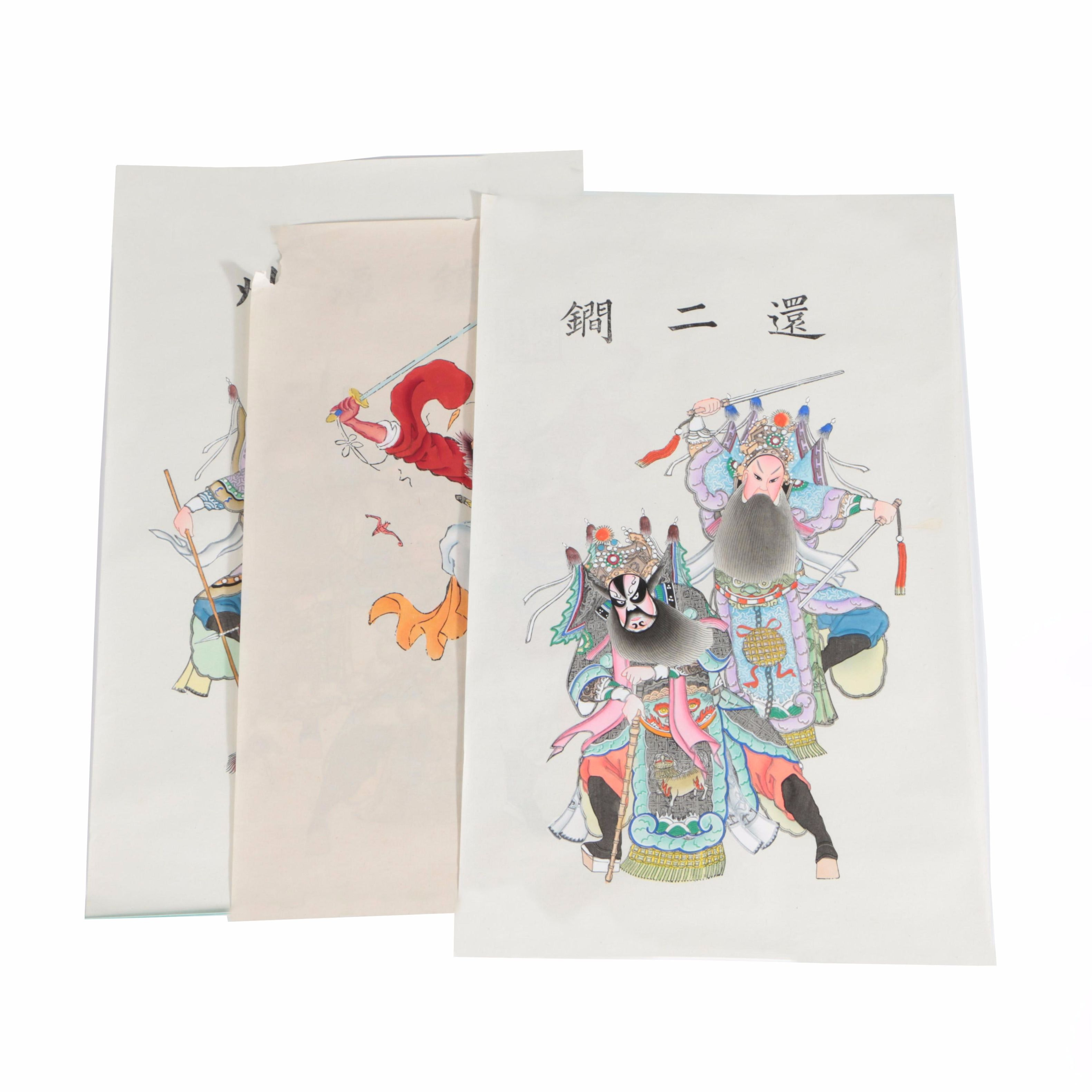 Collection Chinese Hand Colored Woodblock Prints on Laid Paper