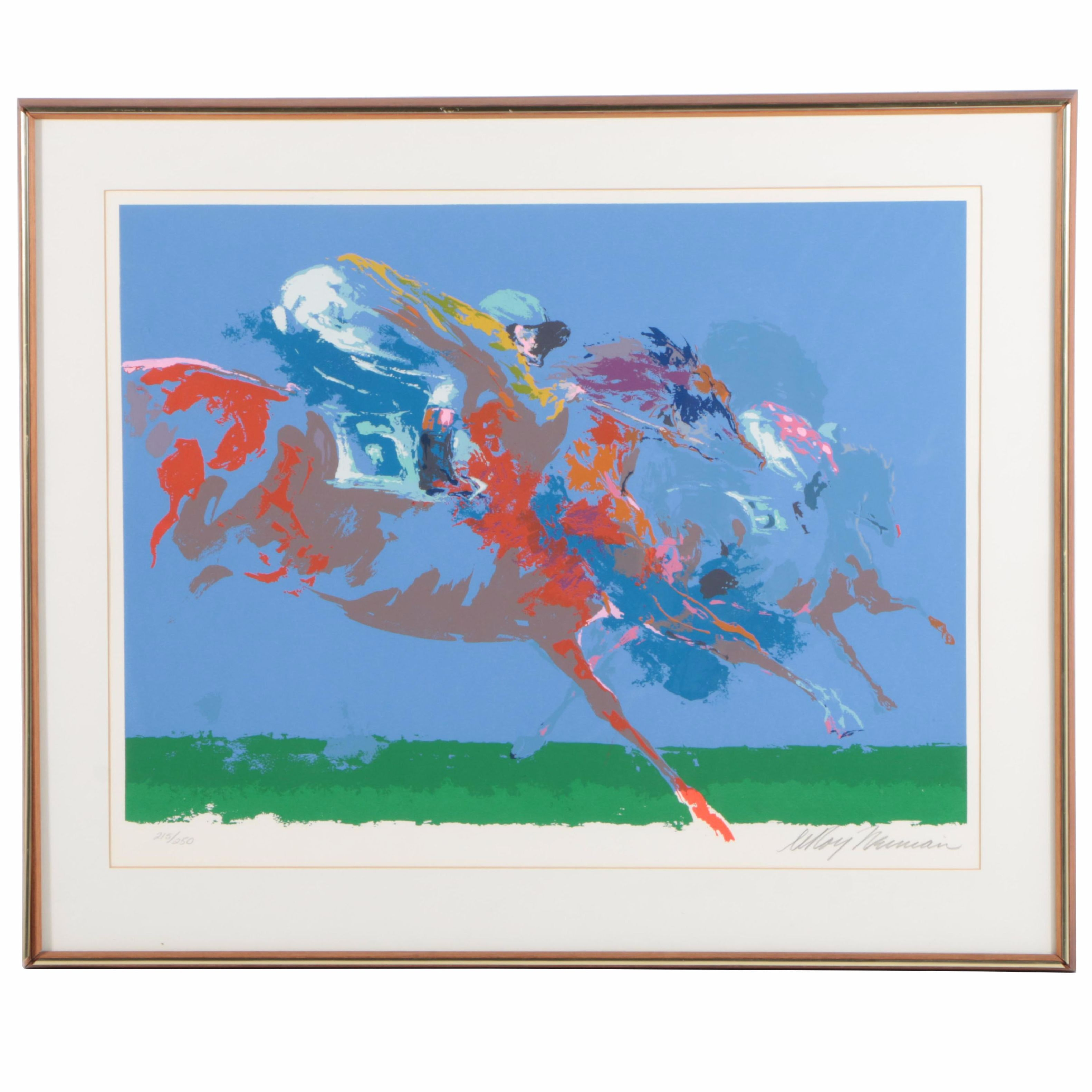 """LeRoy Nieman Signed Limited Edition Serigraph """"In the Stretch"""""""