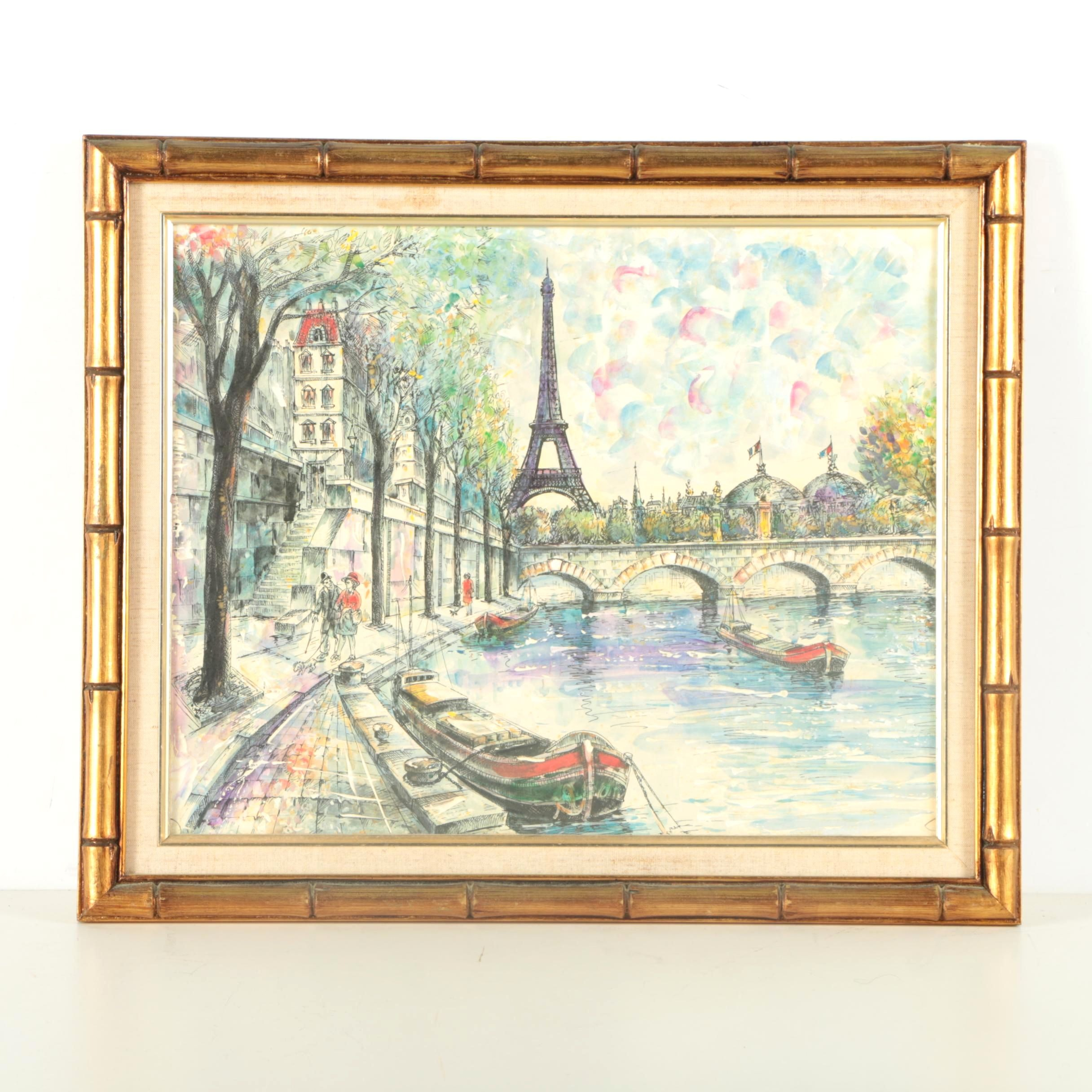 Offset Lithograph of Parisian Scene