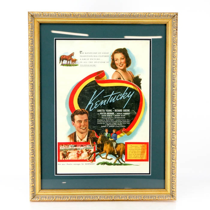 "Framed1939 ""Kentucky"" Movie Poster"