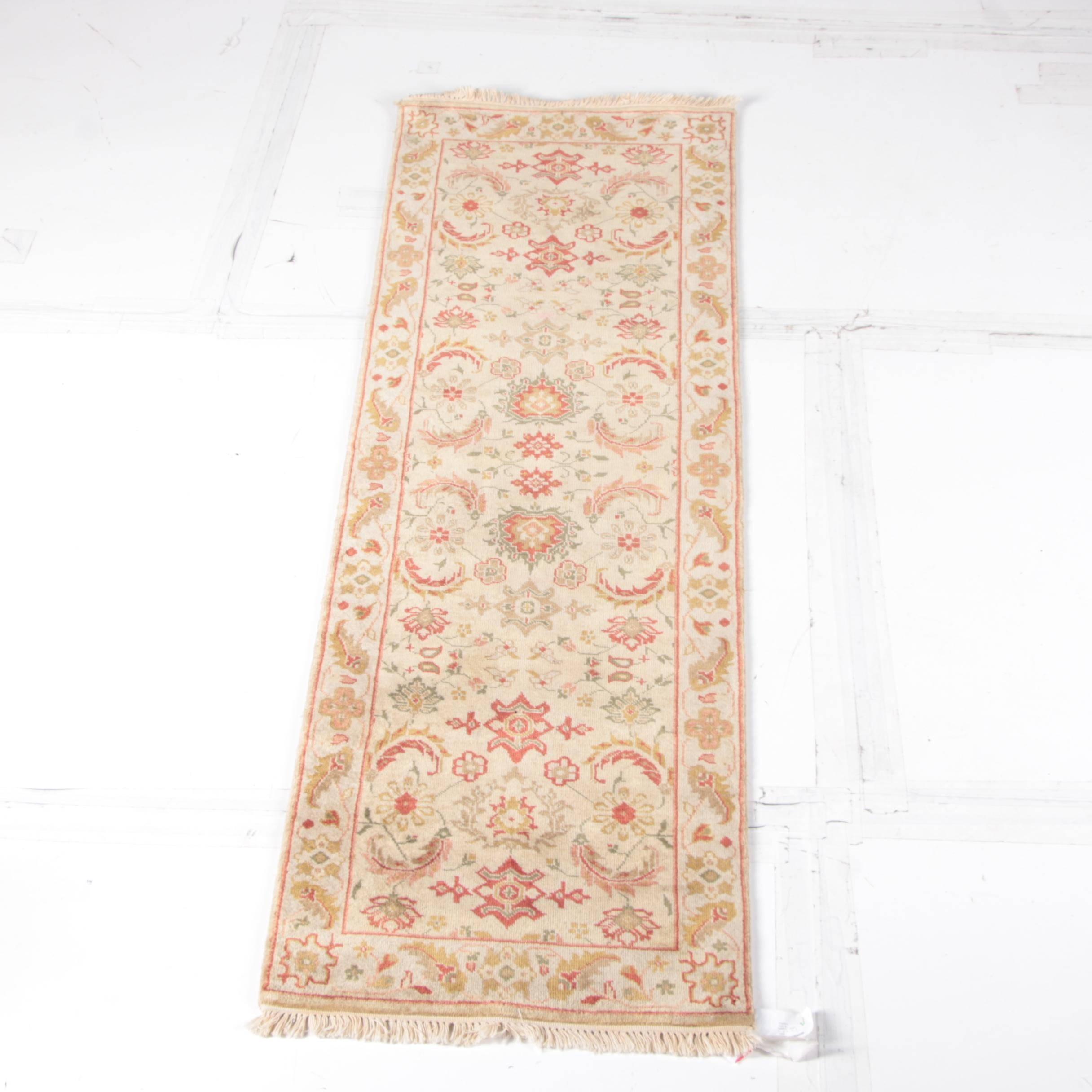 Indian Quot Azeri Quot Hand Knotted Wool Runner Ebth