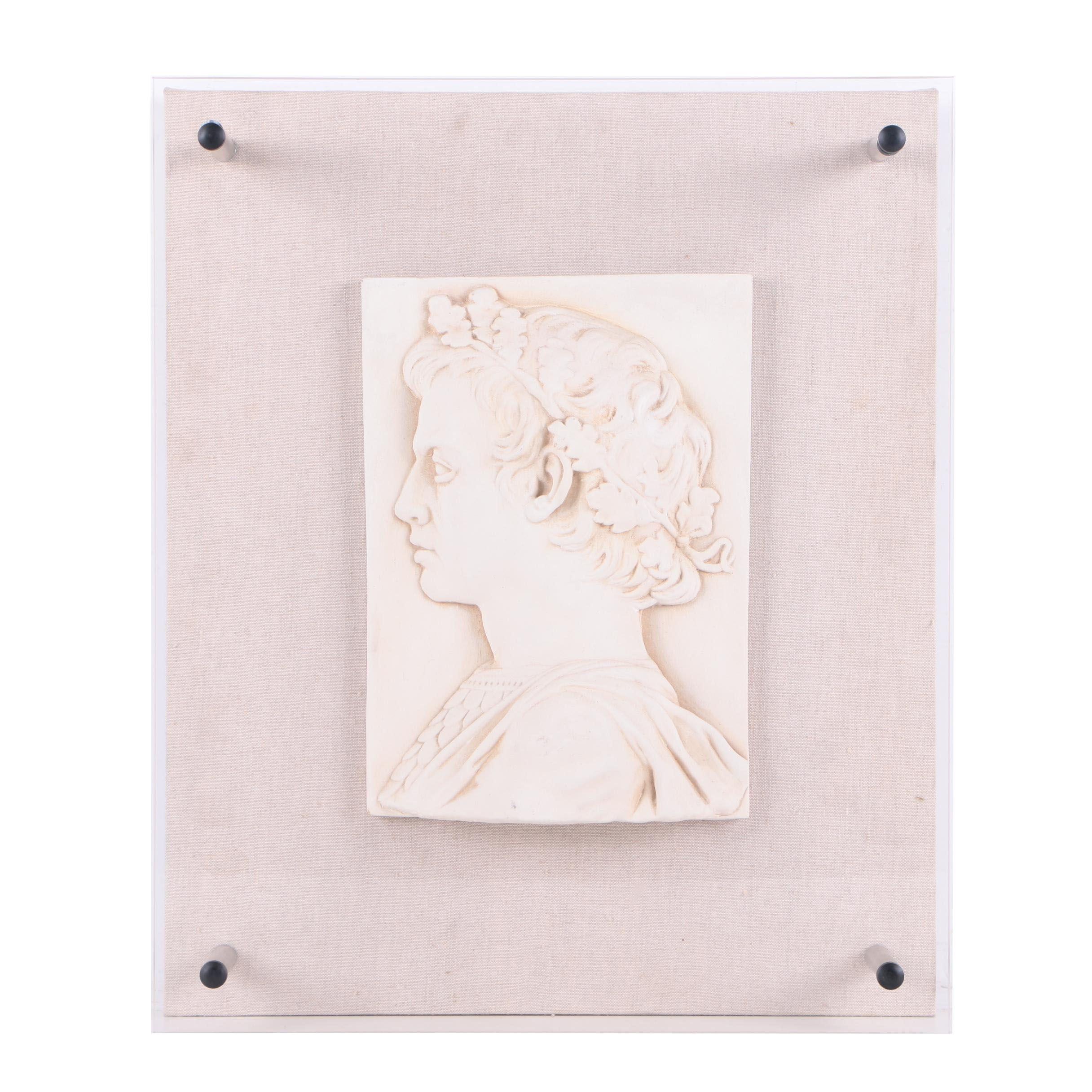 Roman Plaster Bust Under Plexiglass