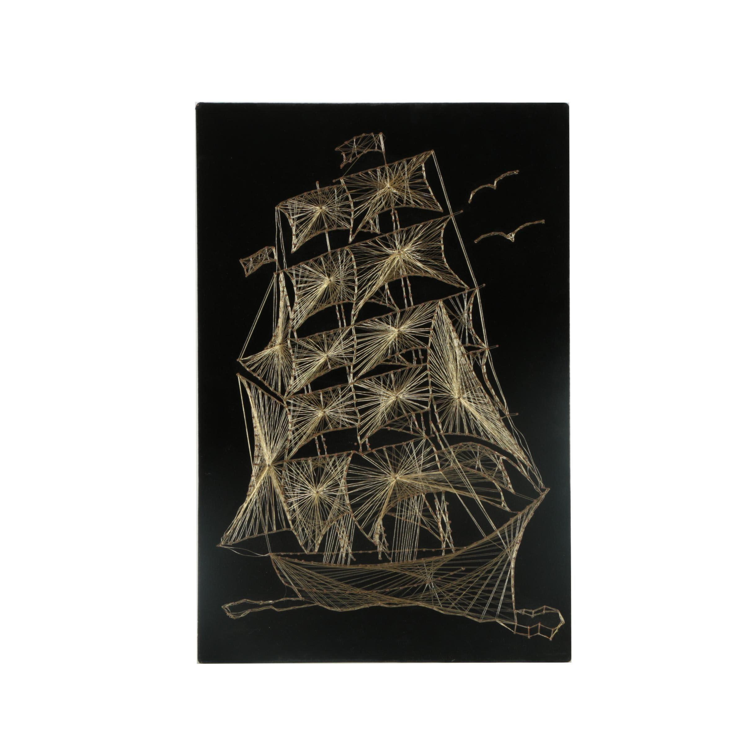 MCM Copper String Art Ship on Velvet