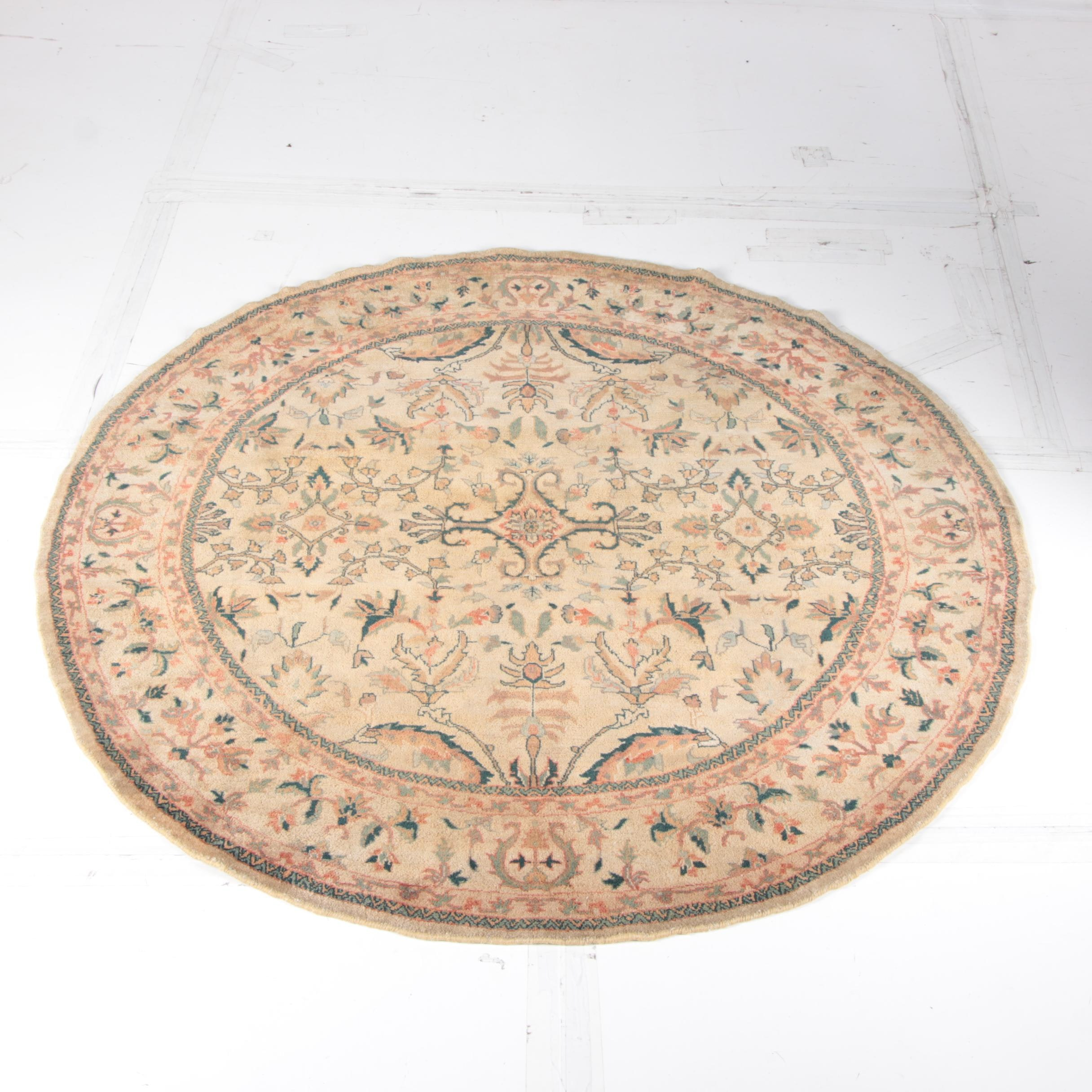 "Indian ""Agla"" Hand Knotted Round Rug"
