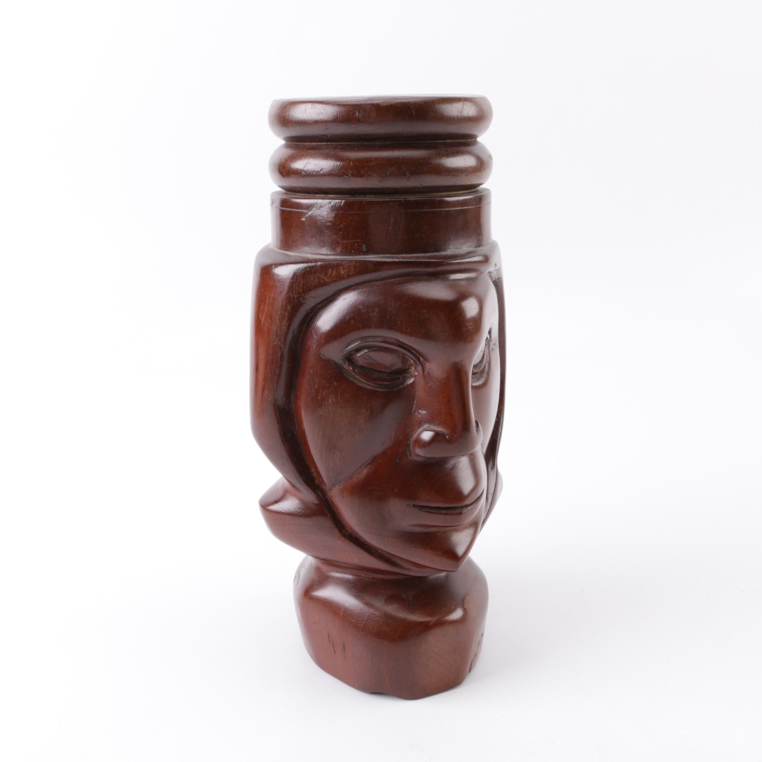 Jamaican Hand-Carved Wooden Face