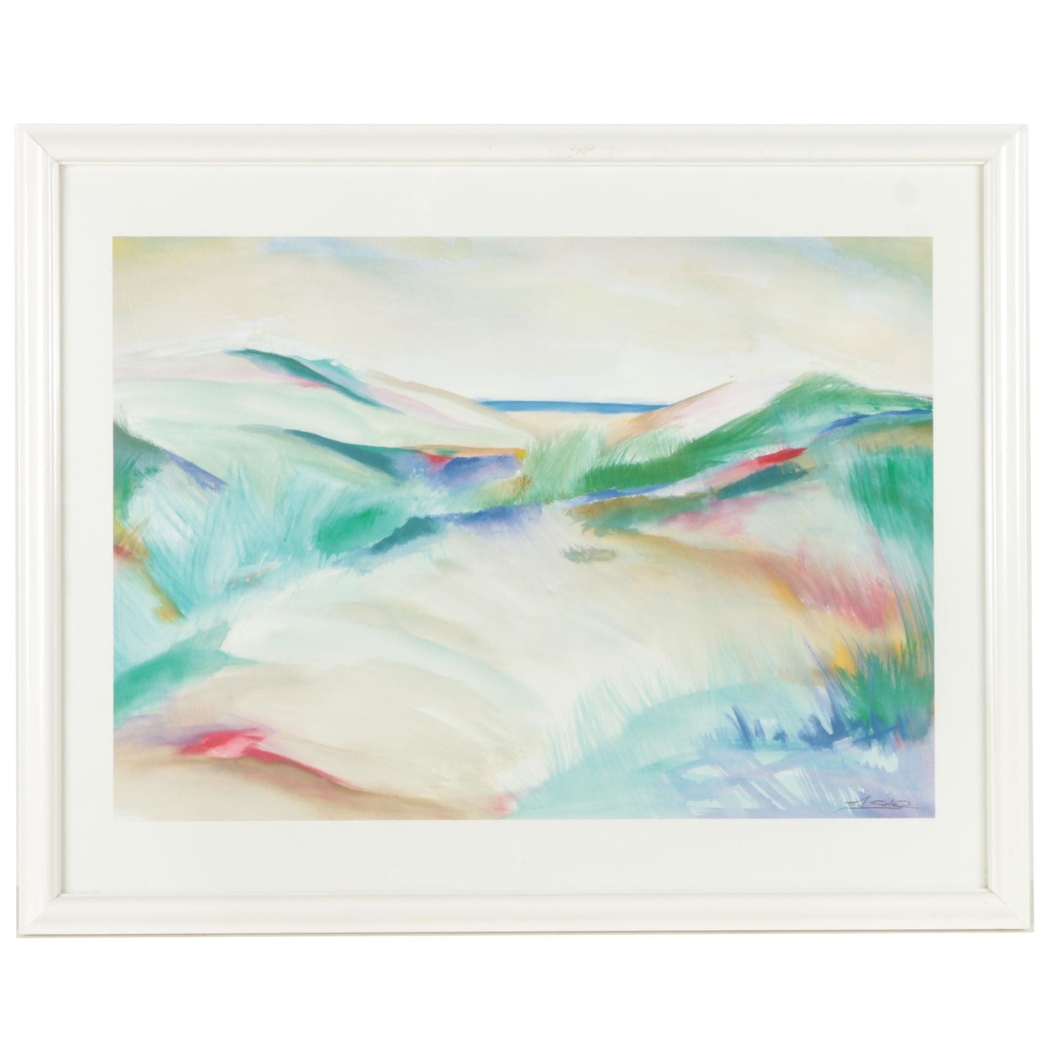 Offset Lithograph After Abstract Landscape Painting
