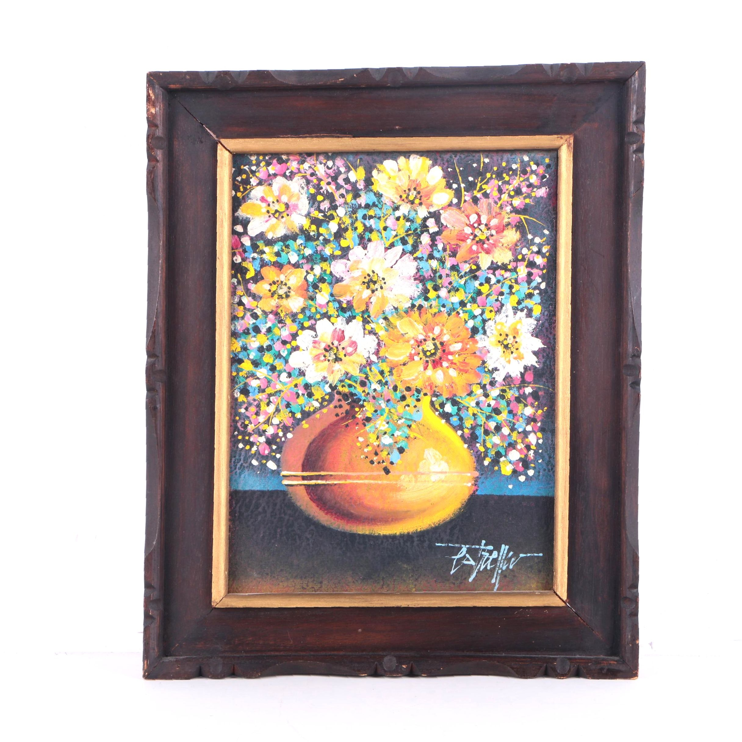 Estrella Oil Painting on Canvas of Still Life with Flowers in Yellow Vase